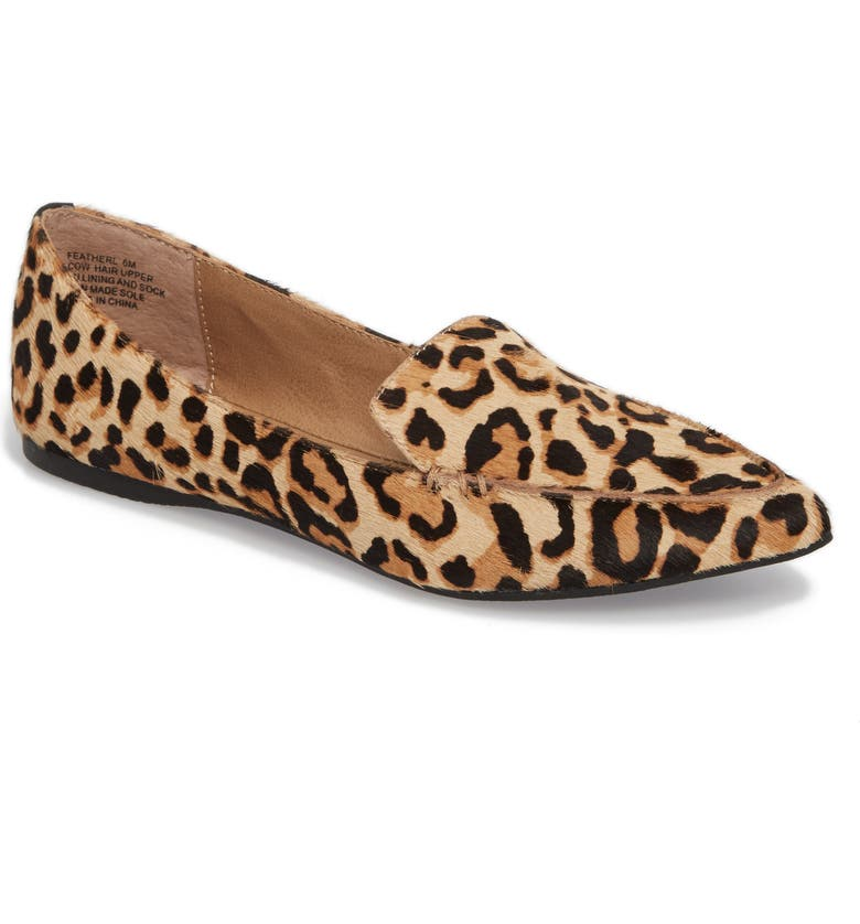 Feather-L Genuine Calf Hair Loafer Flat, Main, color, LEOPARD