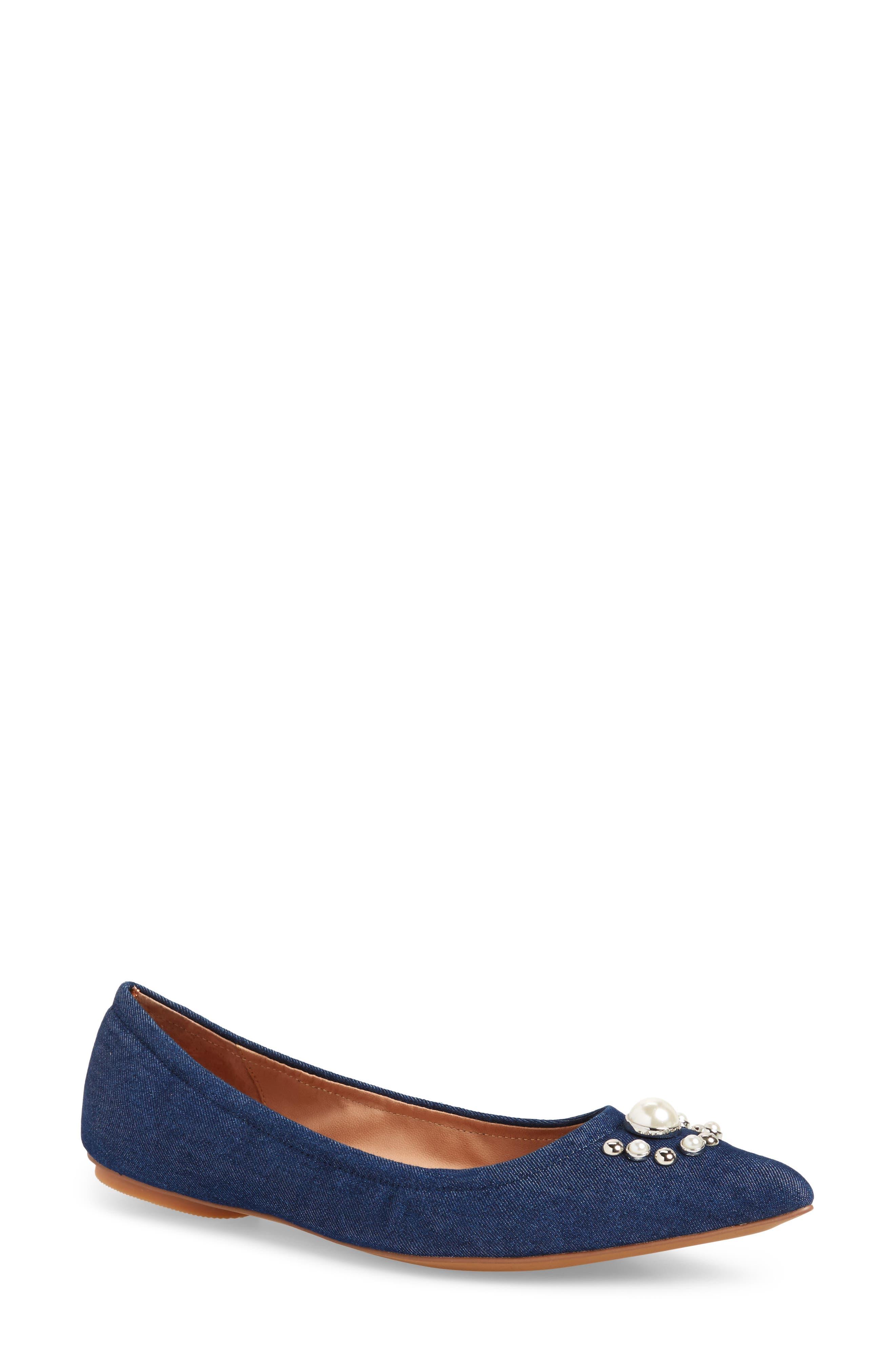 Nadia Embellished Pointy Toe Flat,                         Main,                         color, NAVY DENIM FABRIC
