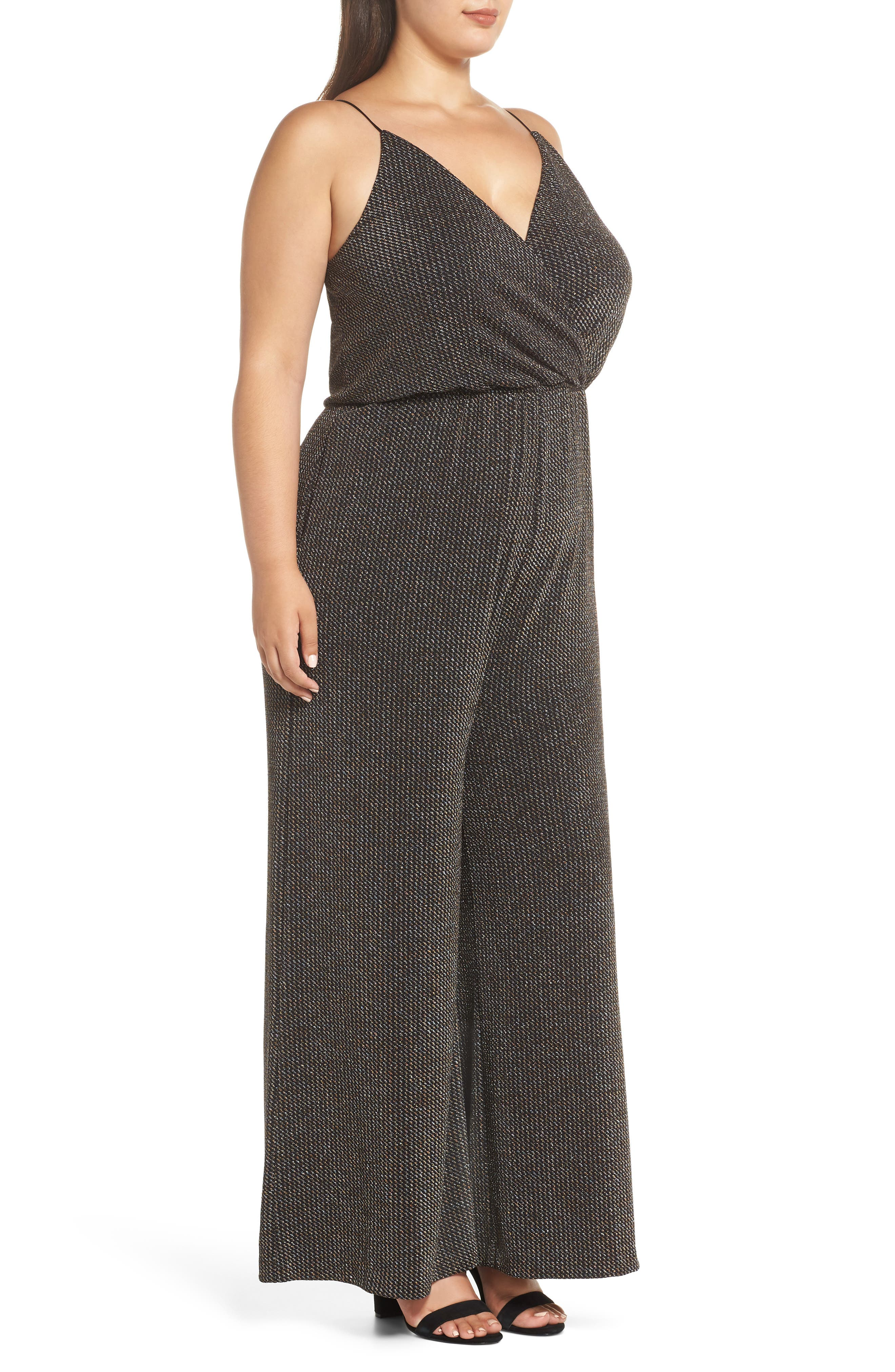 Holiday Metallic Jumpsuit,                             Alternate thumbnail 3, color,                             SILVER