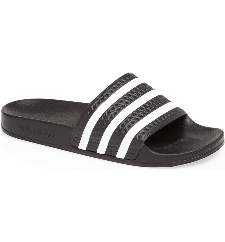 official photos f635c 9330e ADIDAS Adilette Slide Sandal, Main, color, BLACK WHITE