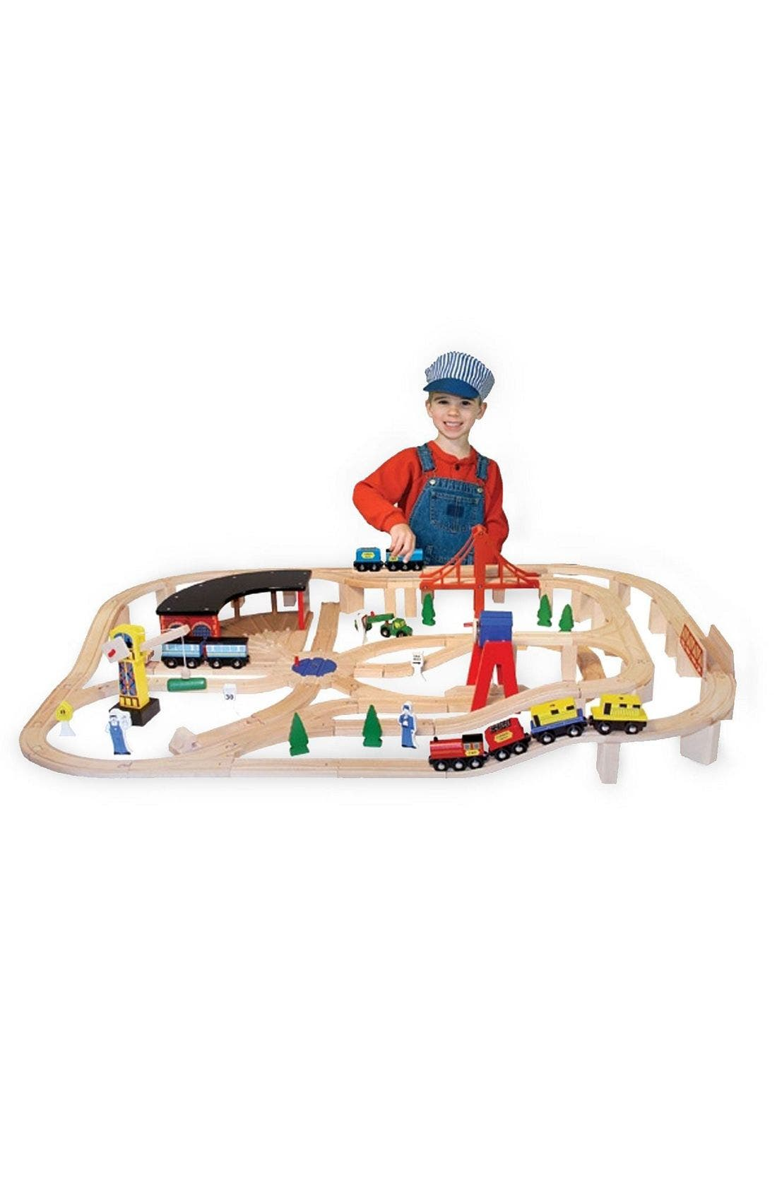 132-Piece Wooden Railway Set,                         Main,                         color, WOODEN RAILWAY SET