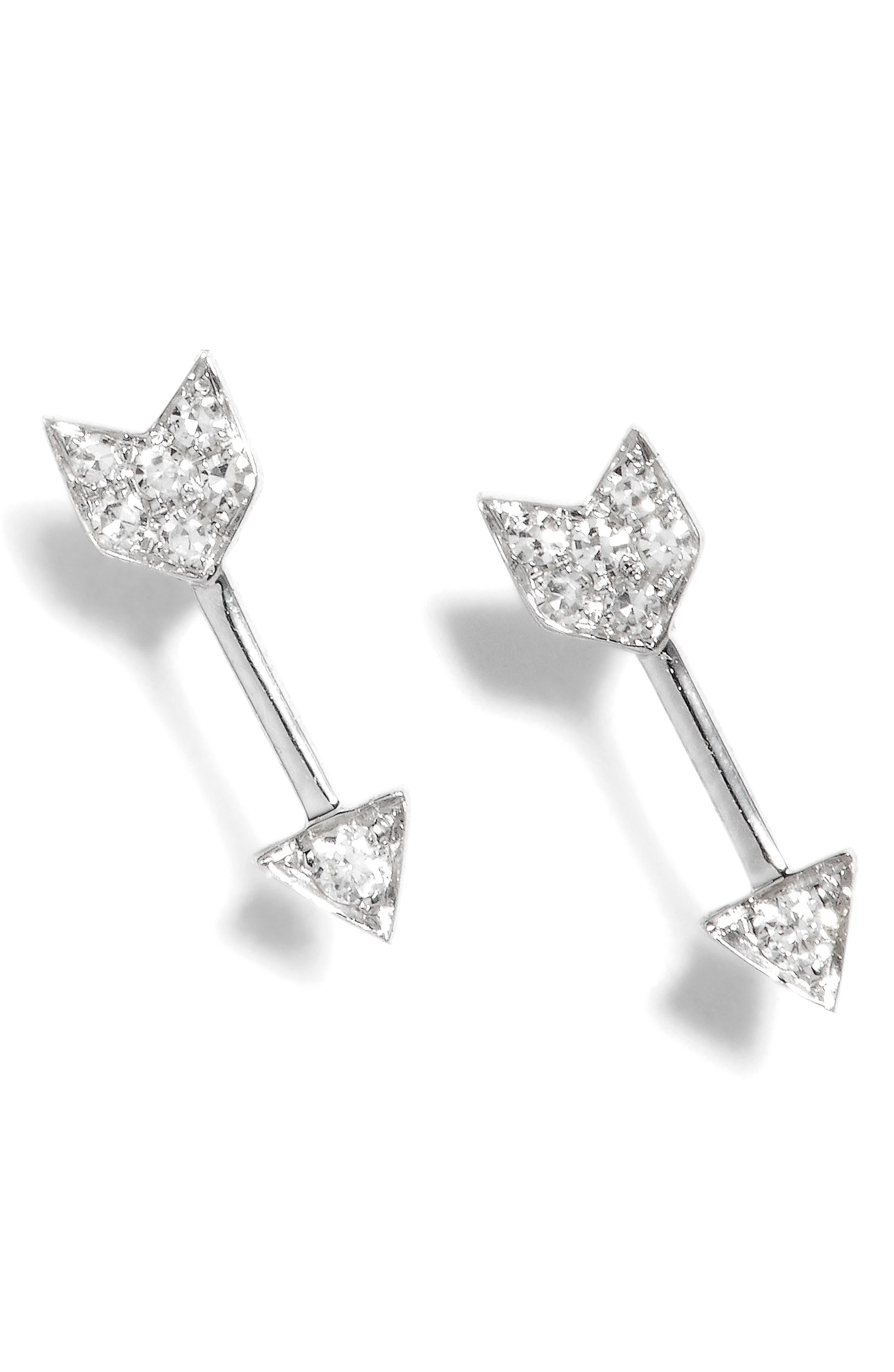 Diamond Arrow Stud Earrings,                         Main,                         color, WHITE GOLD