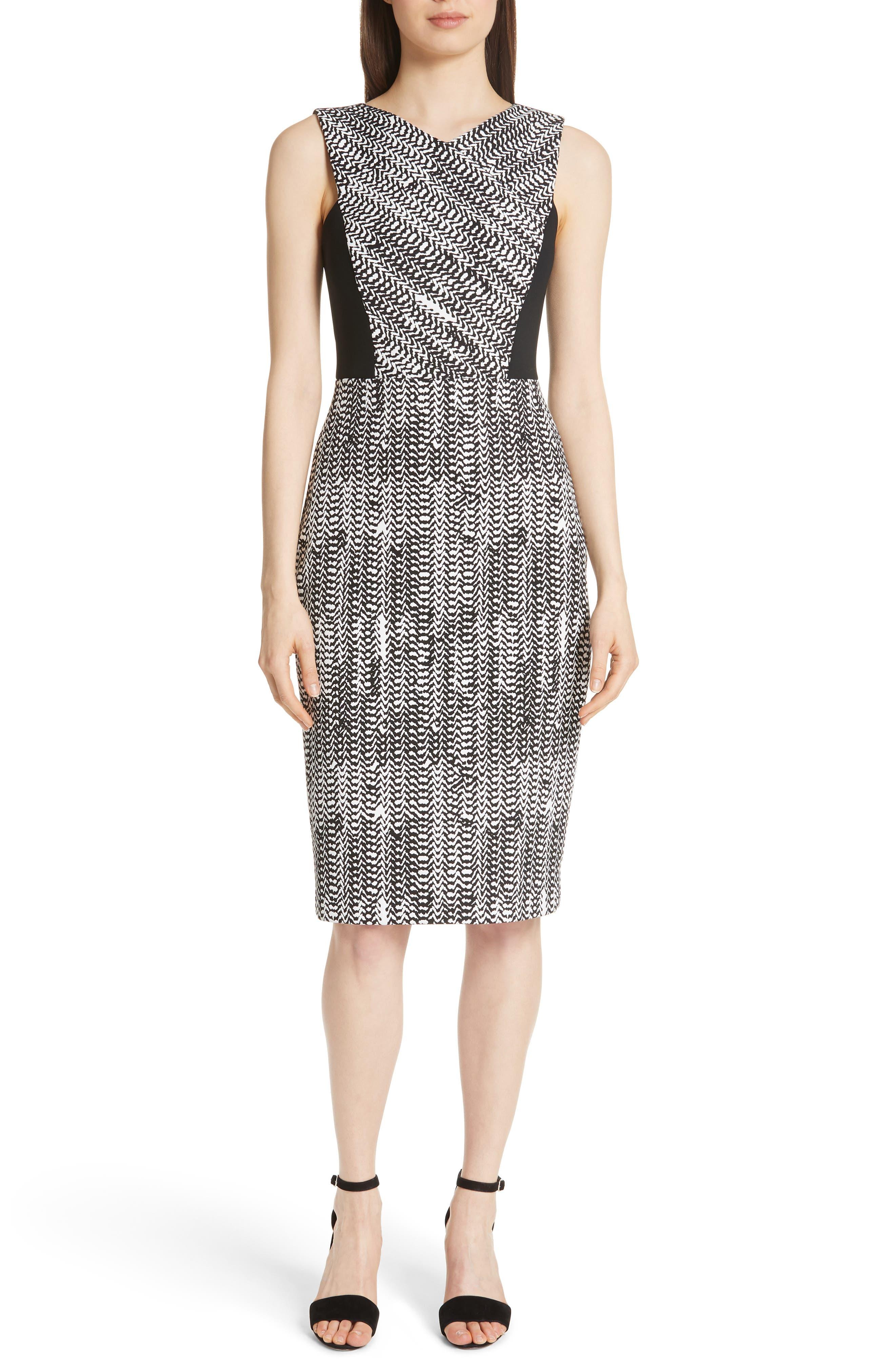 Herringbone Jacquard Sheath Dress,                             Main thumbnail 1, color,                             BLACK/ CHALK