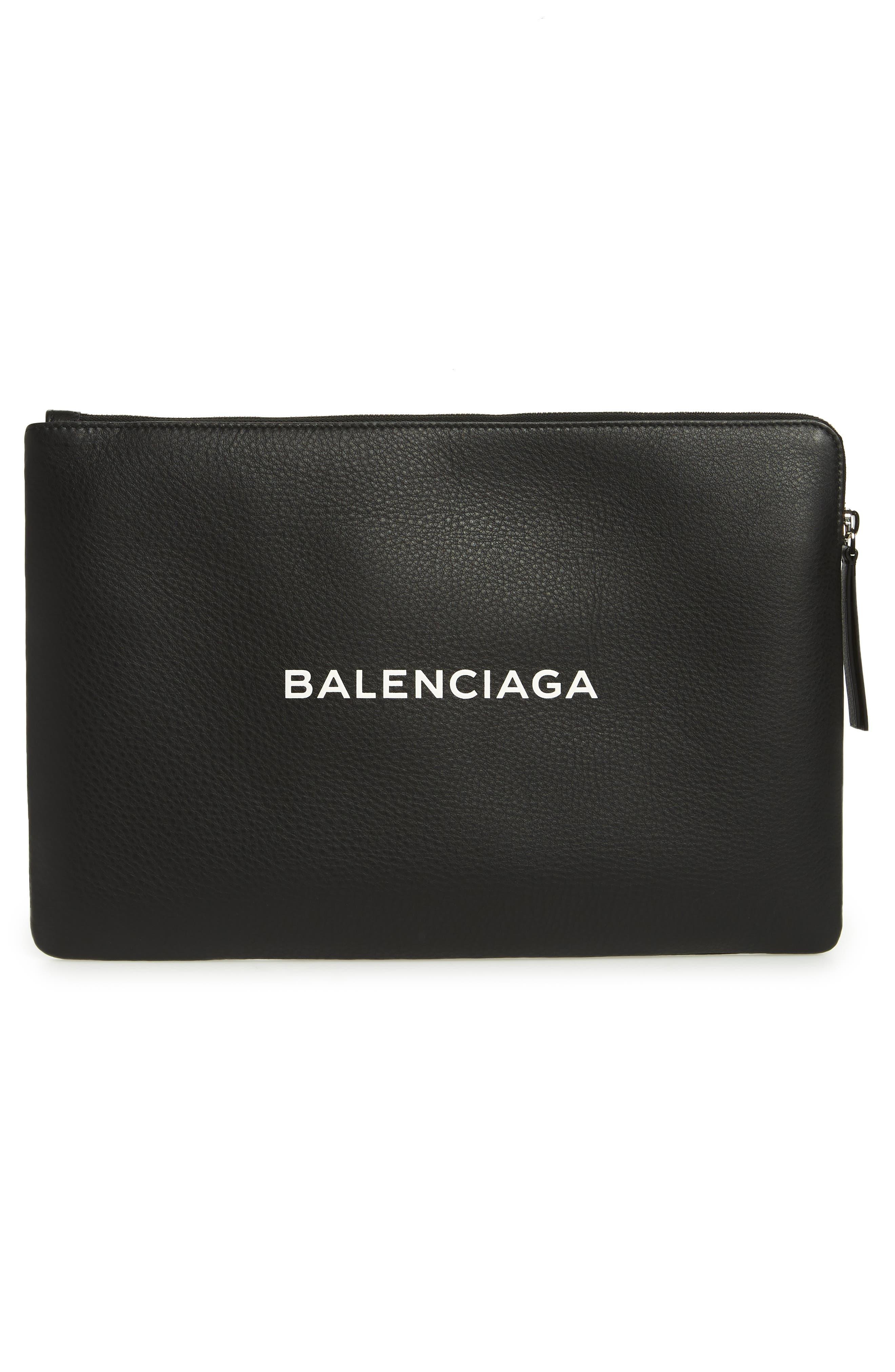 Balencia Large Everyday Leather Pouch,                             Alternate thumbnail 3, color,                             NOIR/ BLANC