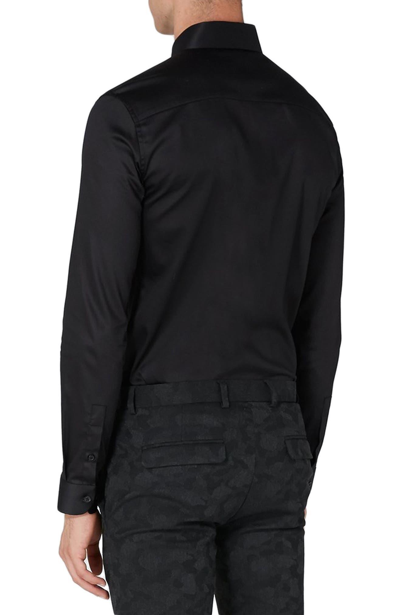 Muscle Fit Satin Shirt,                             Alternate thumbnail 3, color,                             BLACK