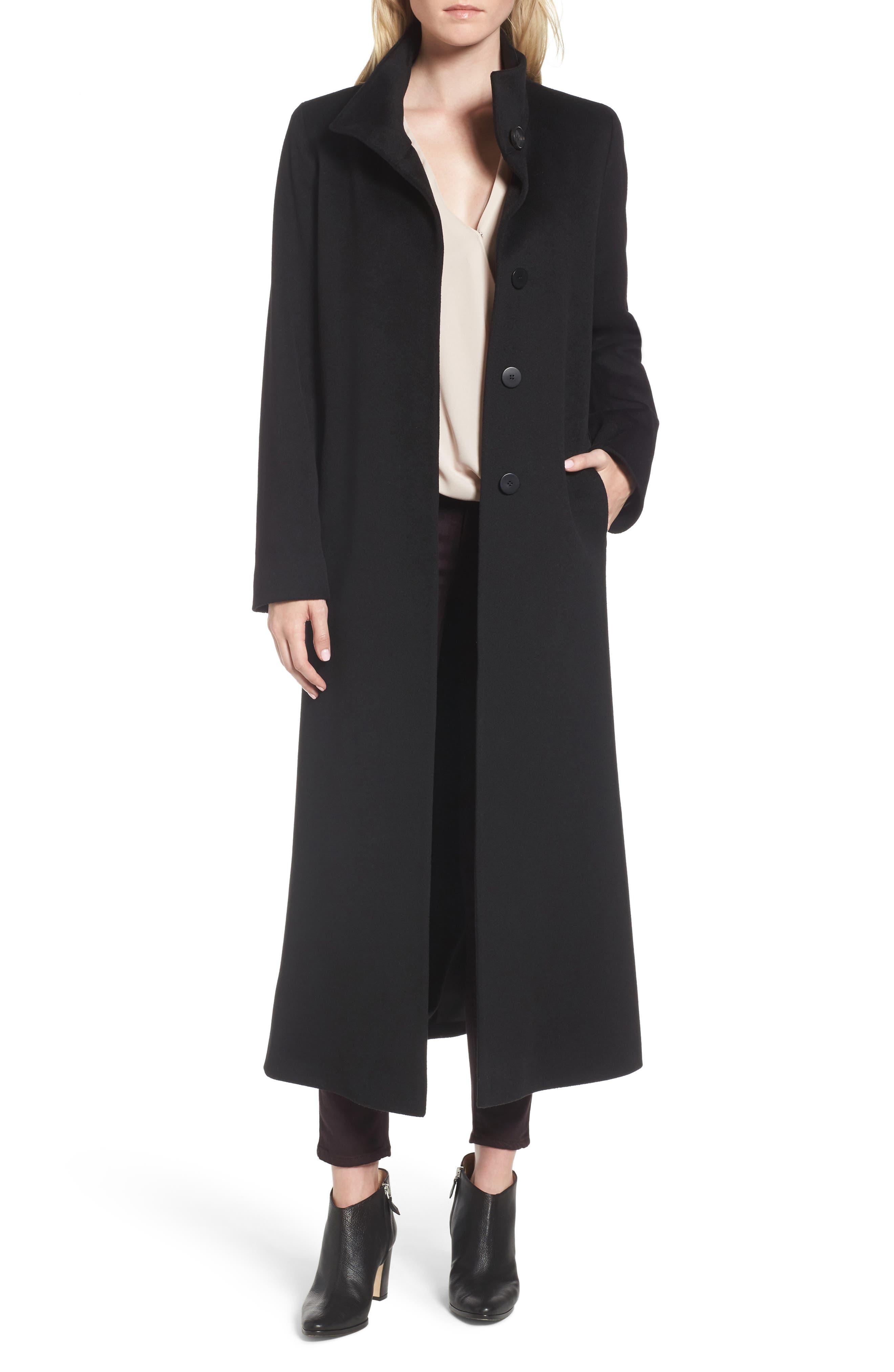 Long Wool Coat,                             Alternate thumbnail 2, color,                             001