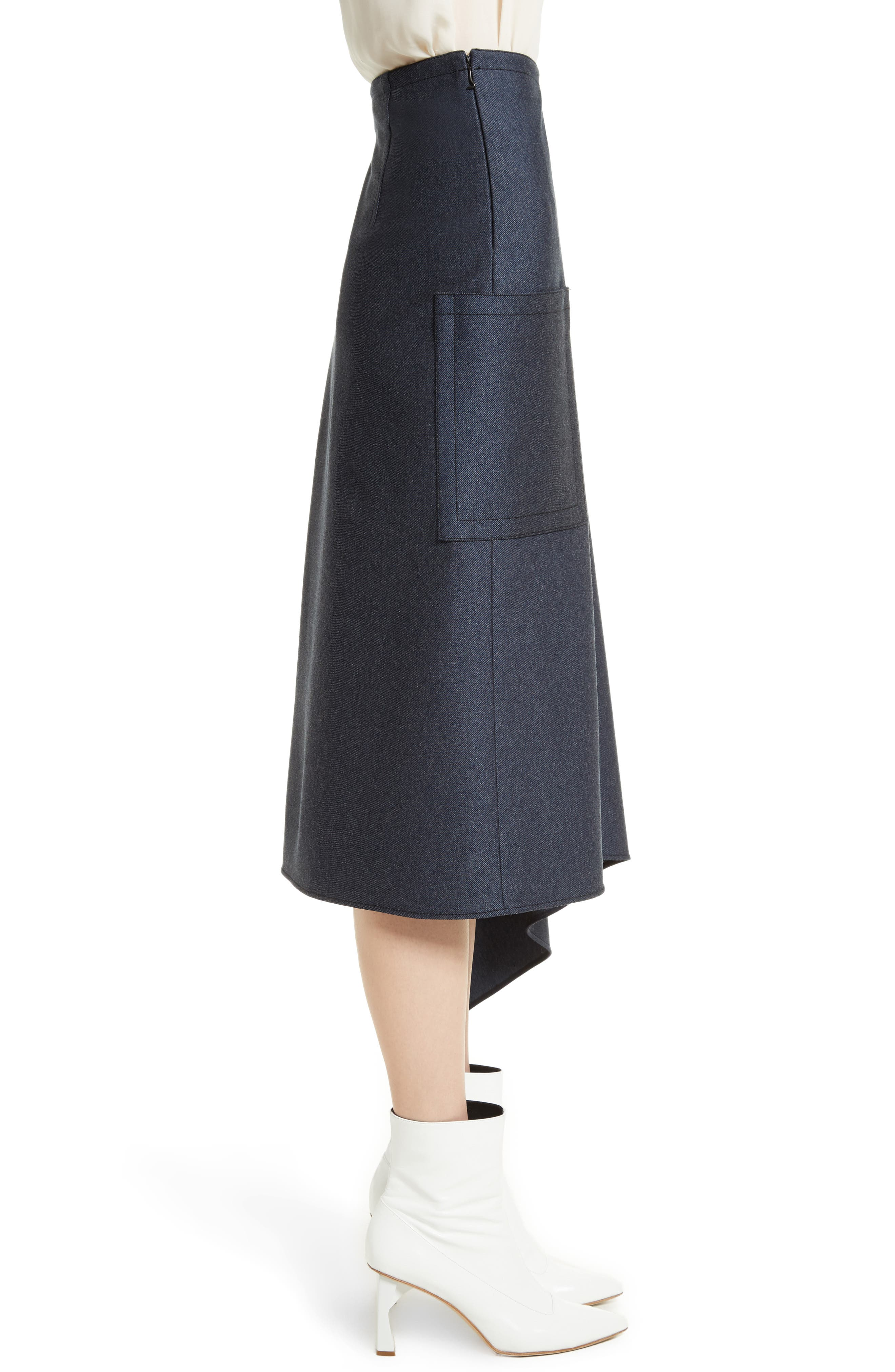 Origami Asymmetrical Twill Skirt,                             Alternate thumbnail 3, color,                             402