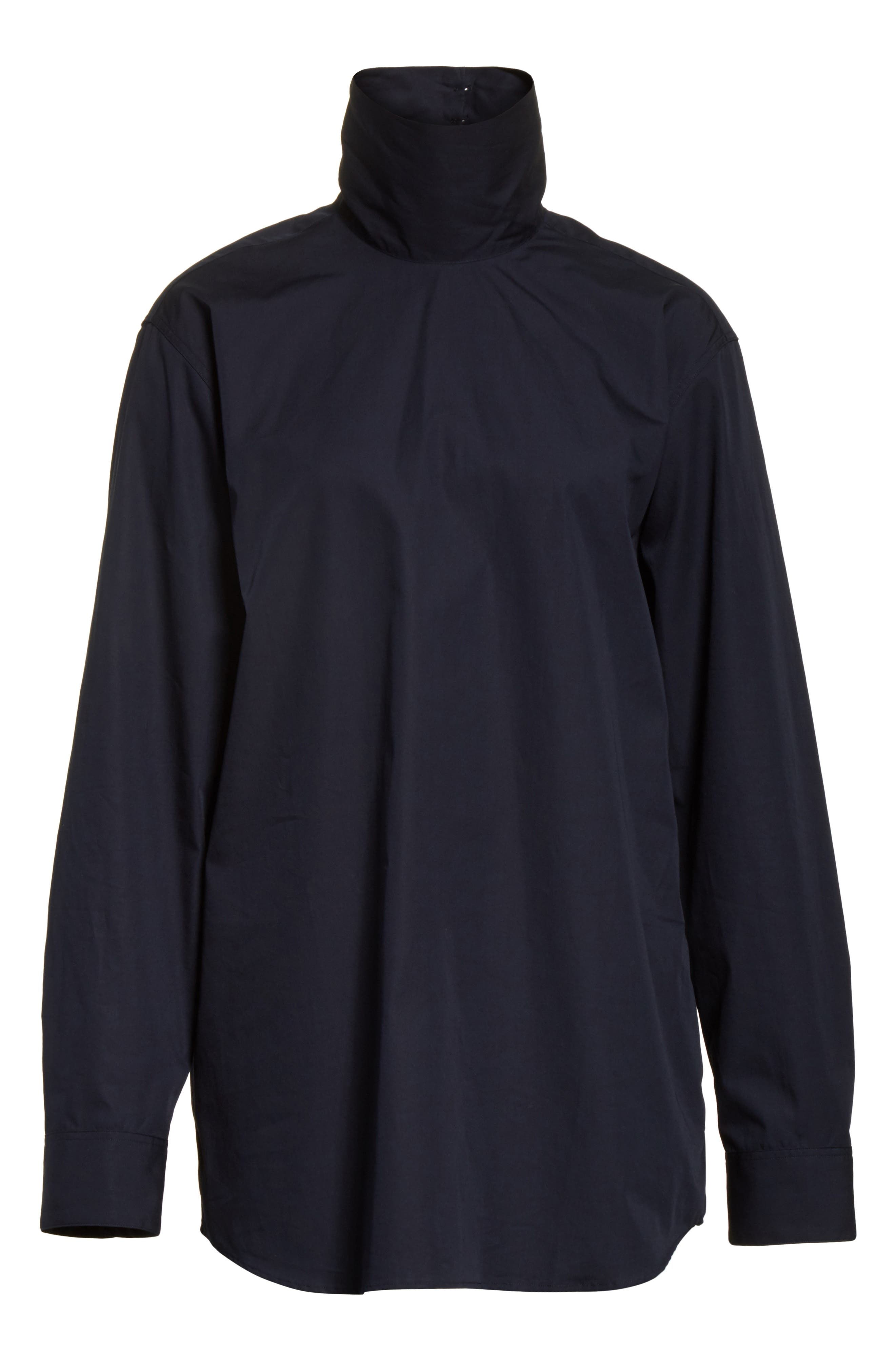 Cotton Poplin Mock Neck Shirt,                             Alternate thumbnail 6, color,                             400
