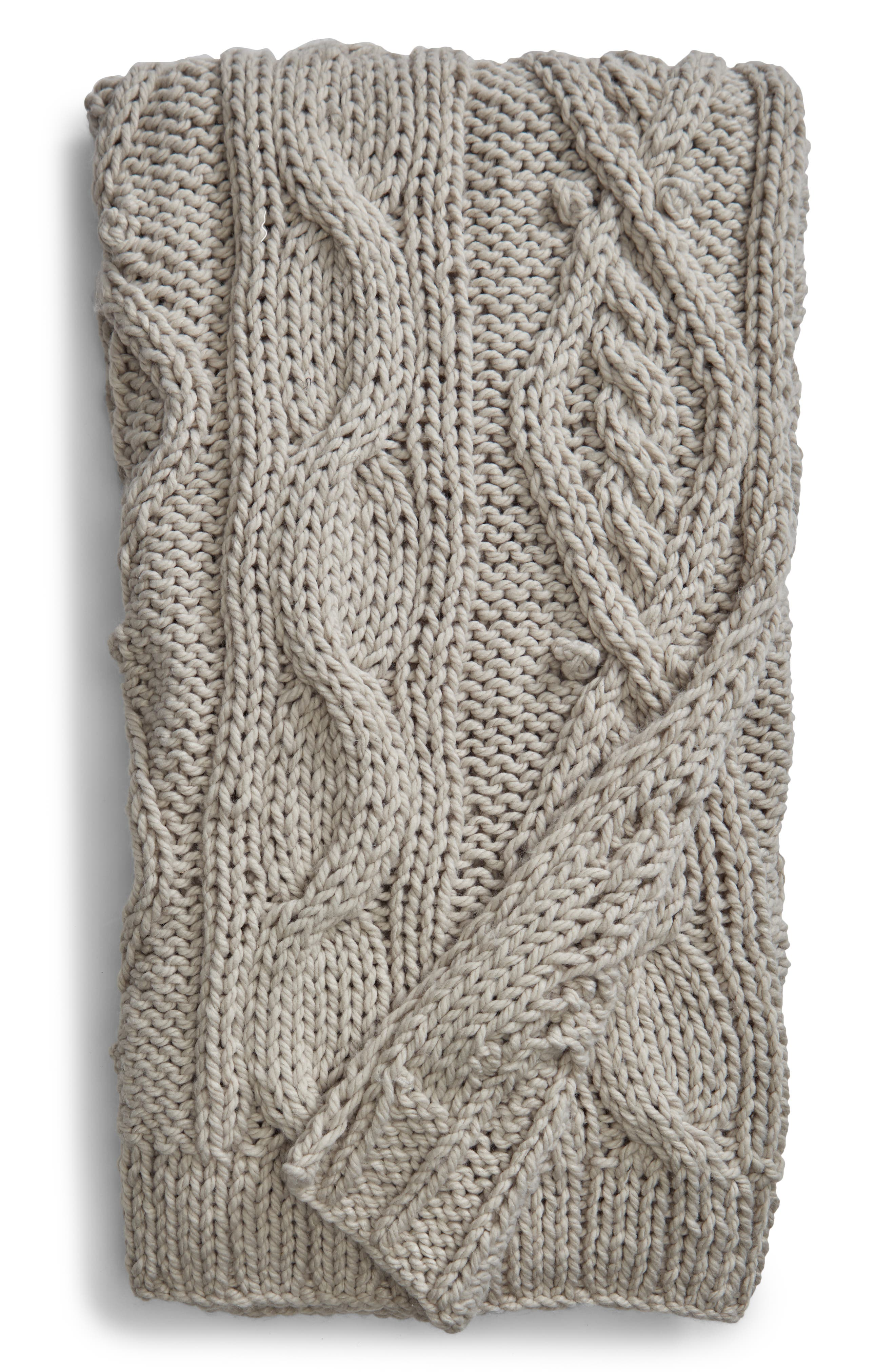 Chunky Cable Knit Throw Blanket,                             Main thumbnail 1, color,                             020