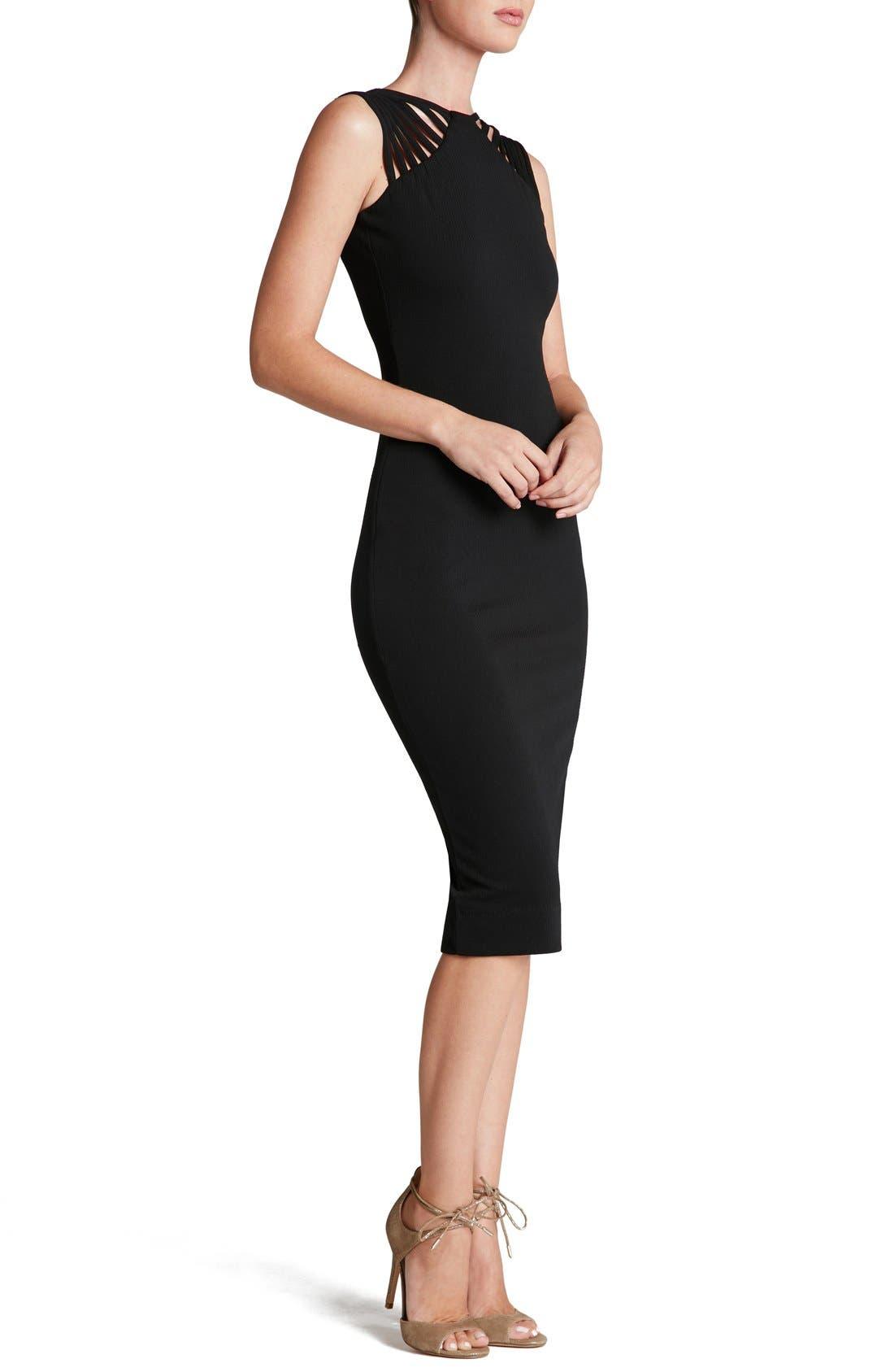 Gwen Midi Dress,                             Alternate thumbnail 5, color,                             001