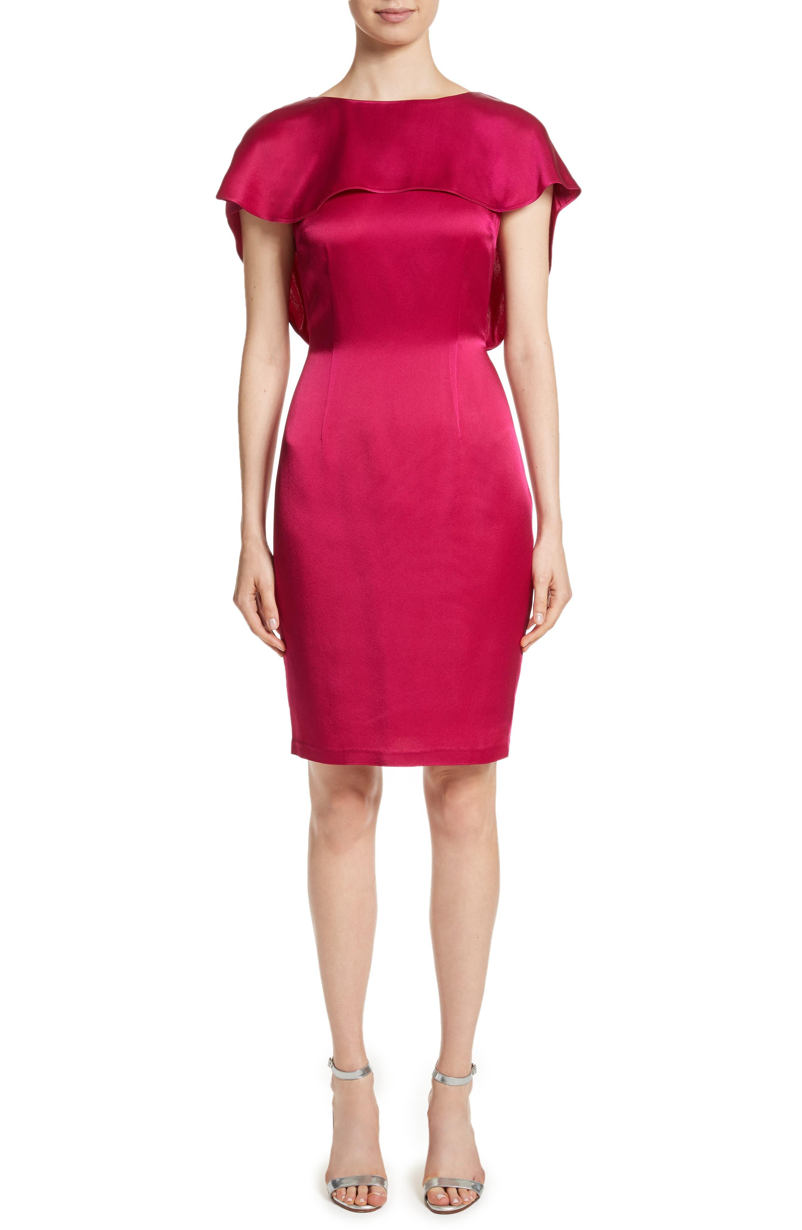 Draped Liquid Crepe Dress,                             Main thumbnail 1, color,                             600