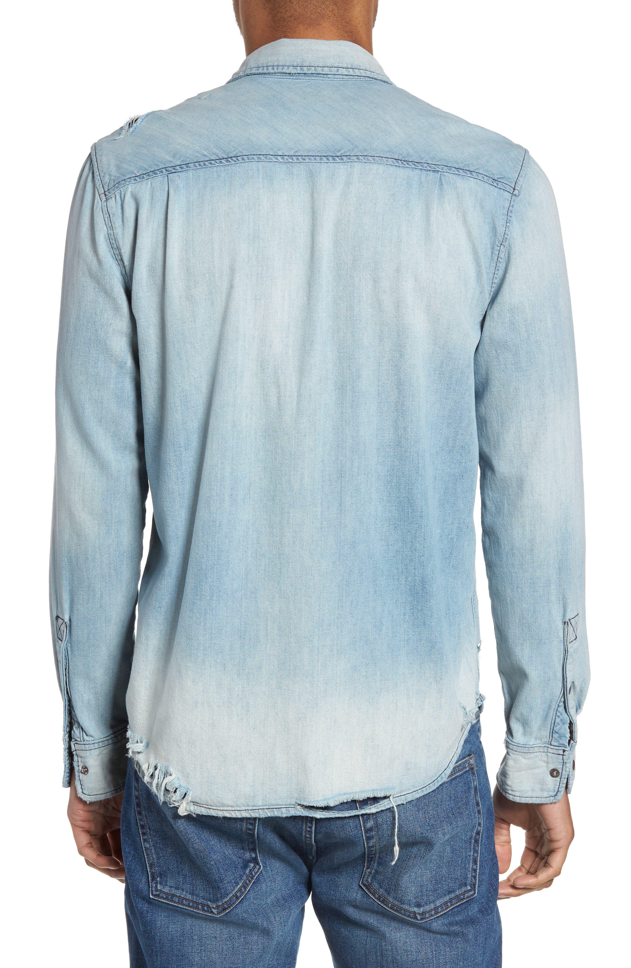 Hudson Slim Fit Destructed Denim Shirt,                             Alternate thumbnail 2, color,