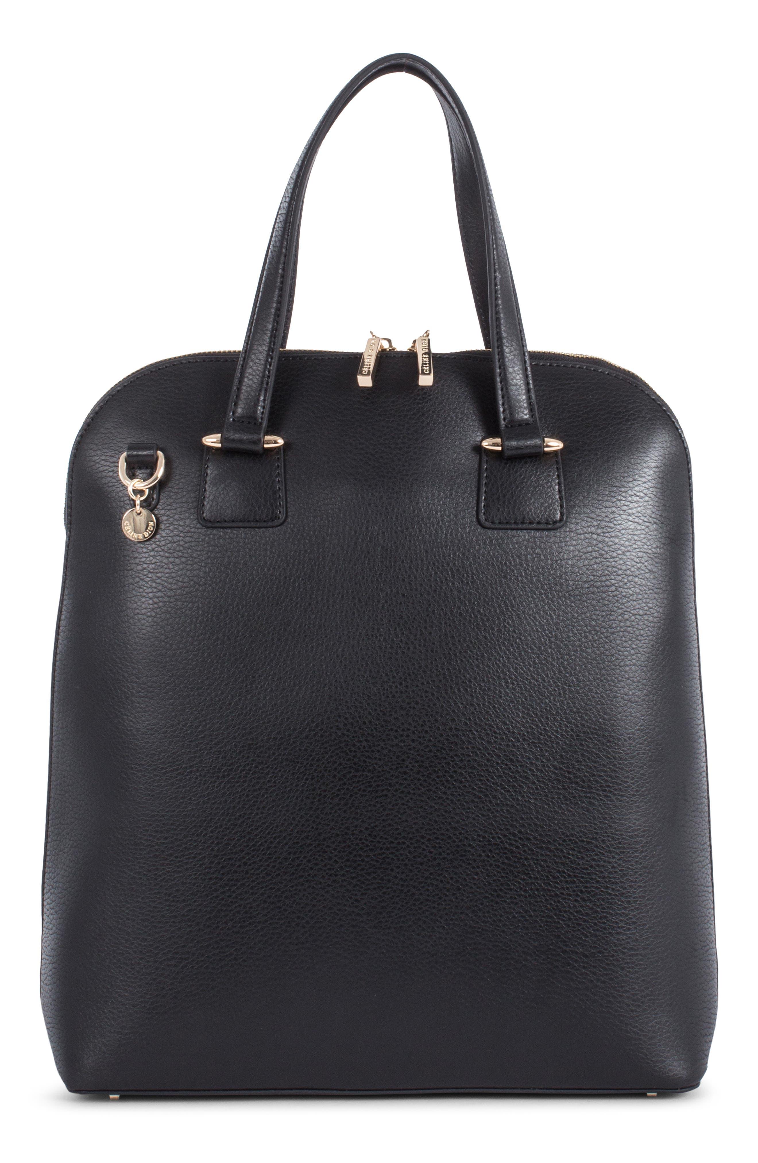 Céline Dion Triad Leather Satchel,                         Main,                         color, BLACK