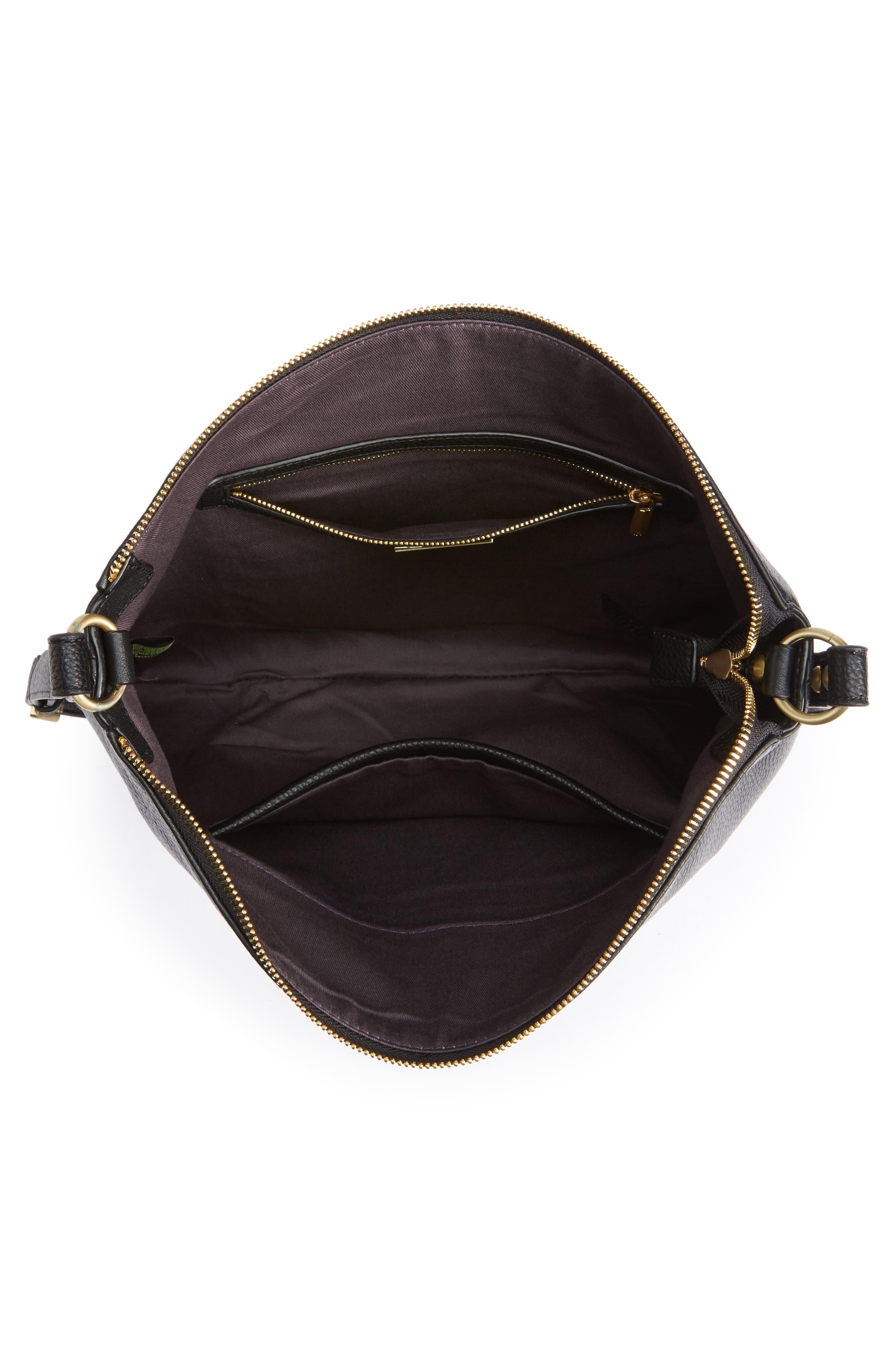 Raelyn Leather Shoulder Bag,                             Alternate thumbnail 4, color,                             001