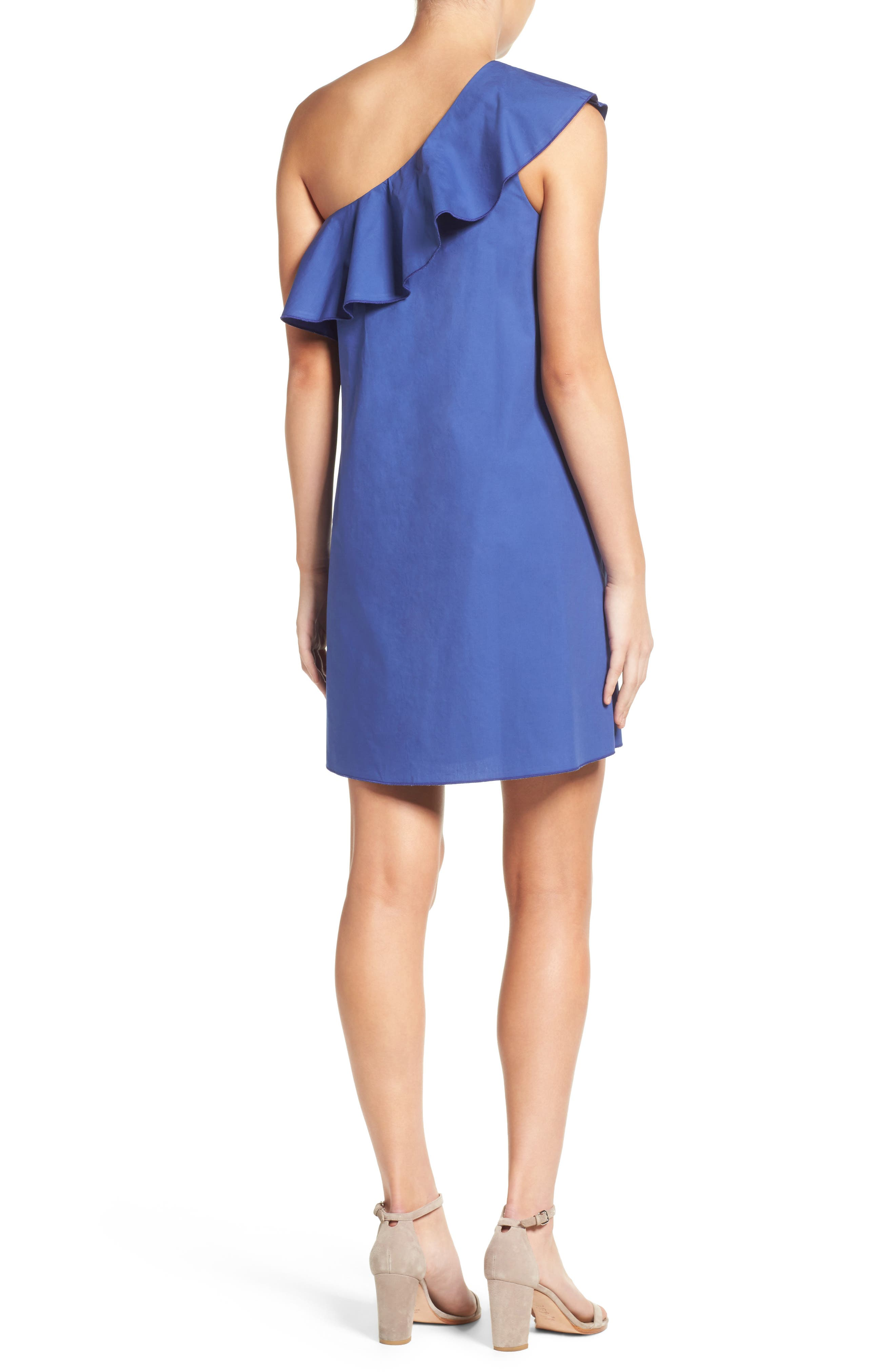 One-Shoulder Ruffle Dress,                             Alternate thumbnail 6, color,