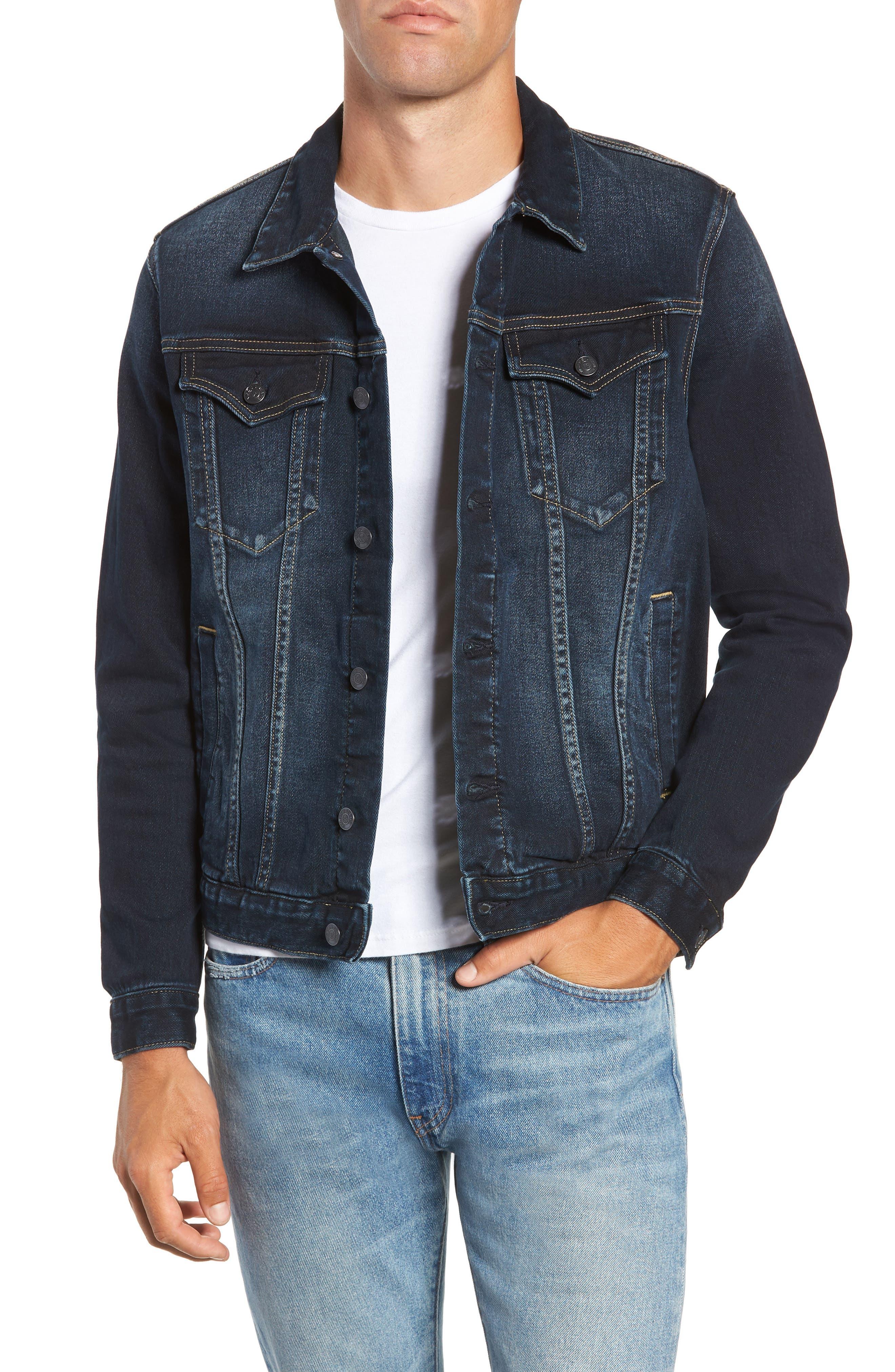 Denim Trucker Jacket,                         Main,                         color, DARK WASH