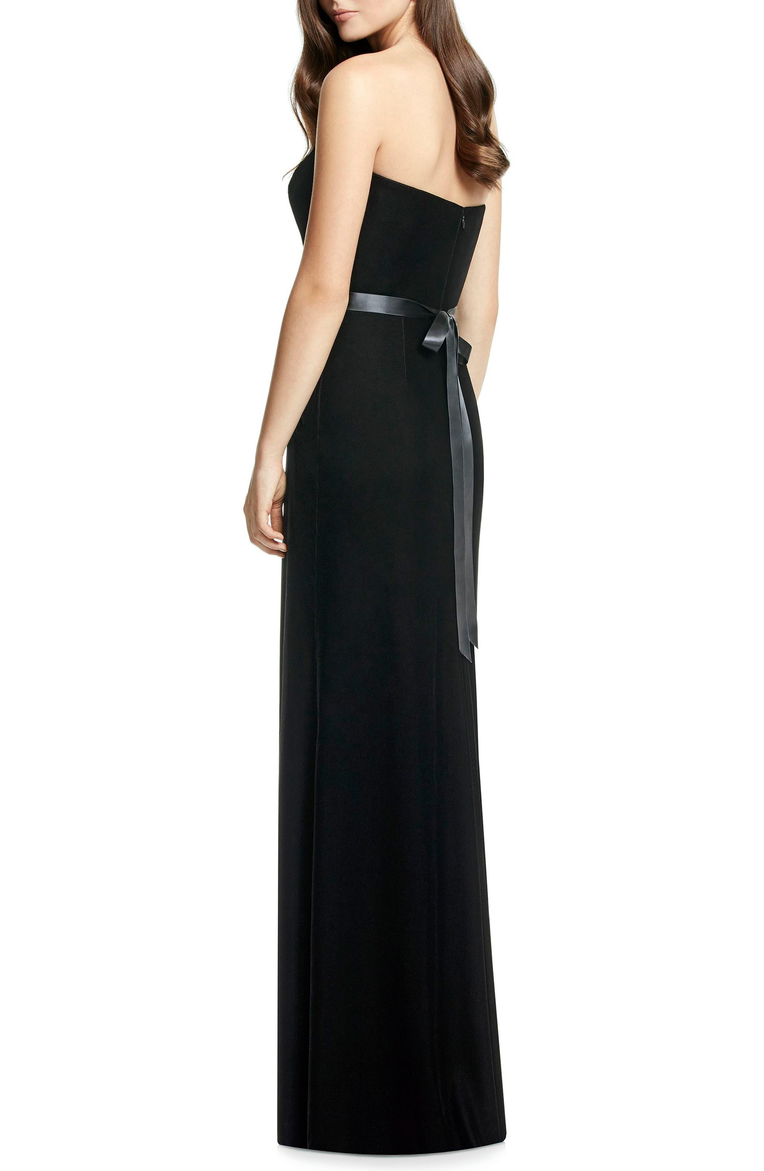 Embellished Belt Strapless Velvet Gown,                             Alternate thumbnail 2, color,                             BLACK