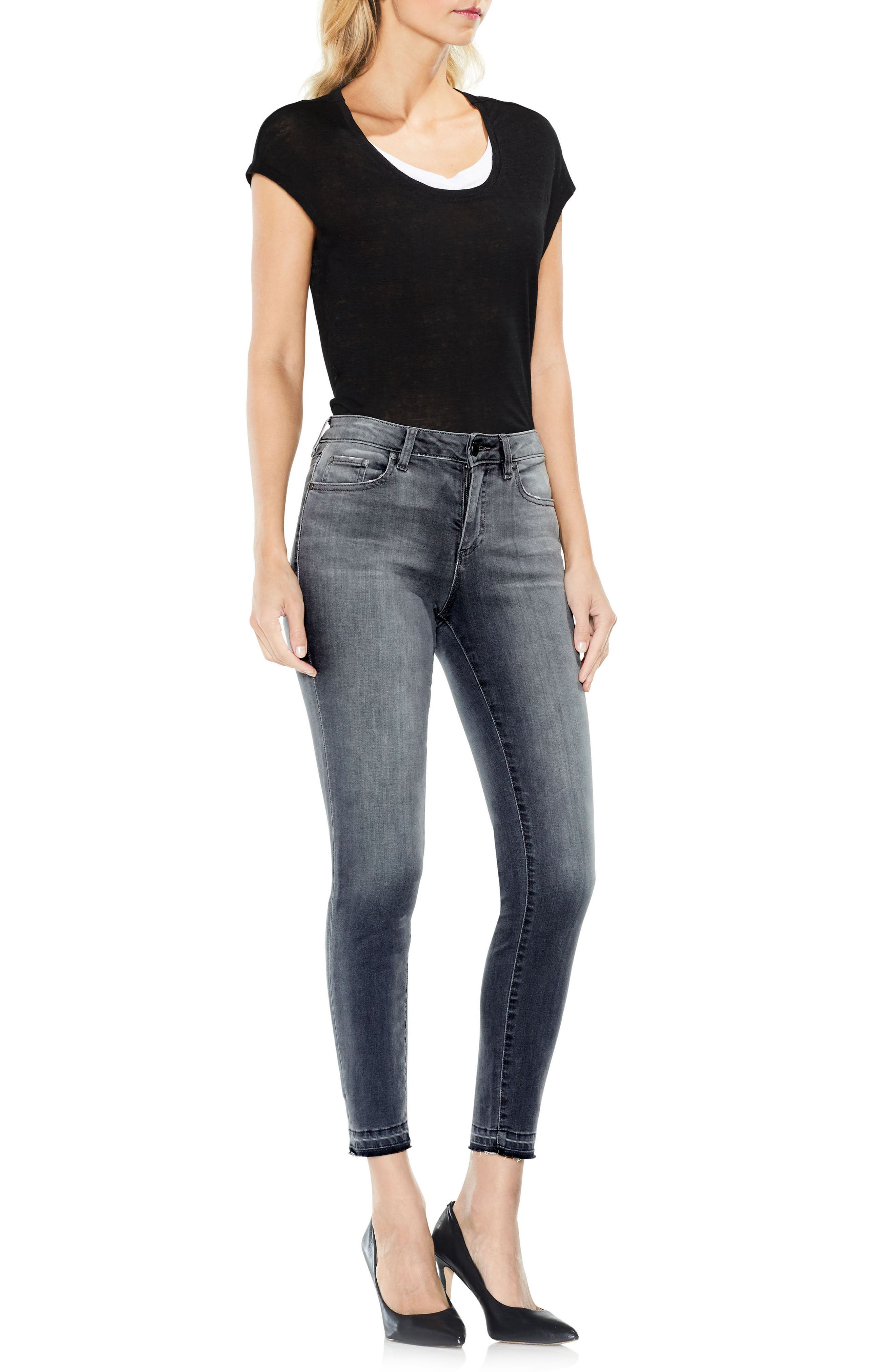 Two by Vince Camuto Grey Released Hem Jeans,                             Alternate thumbnail 3, color,                             COBBLESTONE