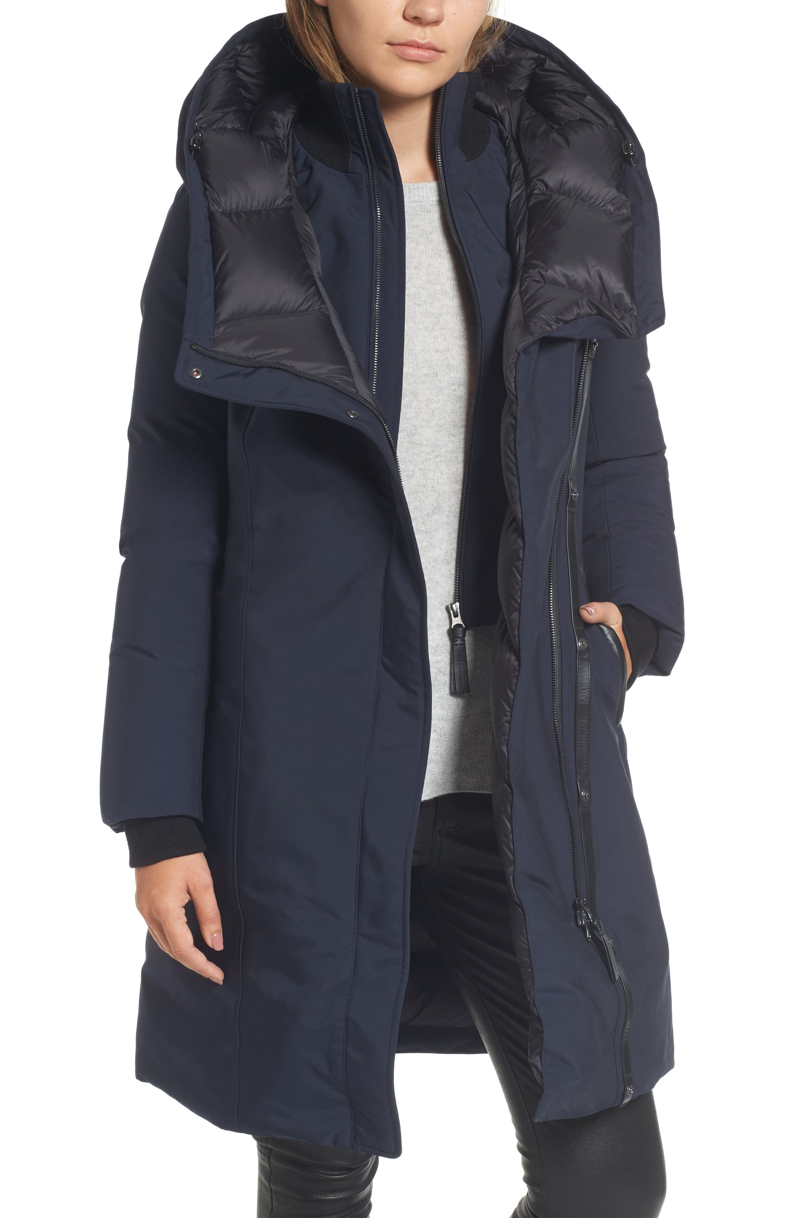 Hooded Asymmetrical Down Coat with Inset Bib,                             Main thumbnail 2, color,