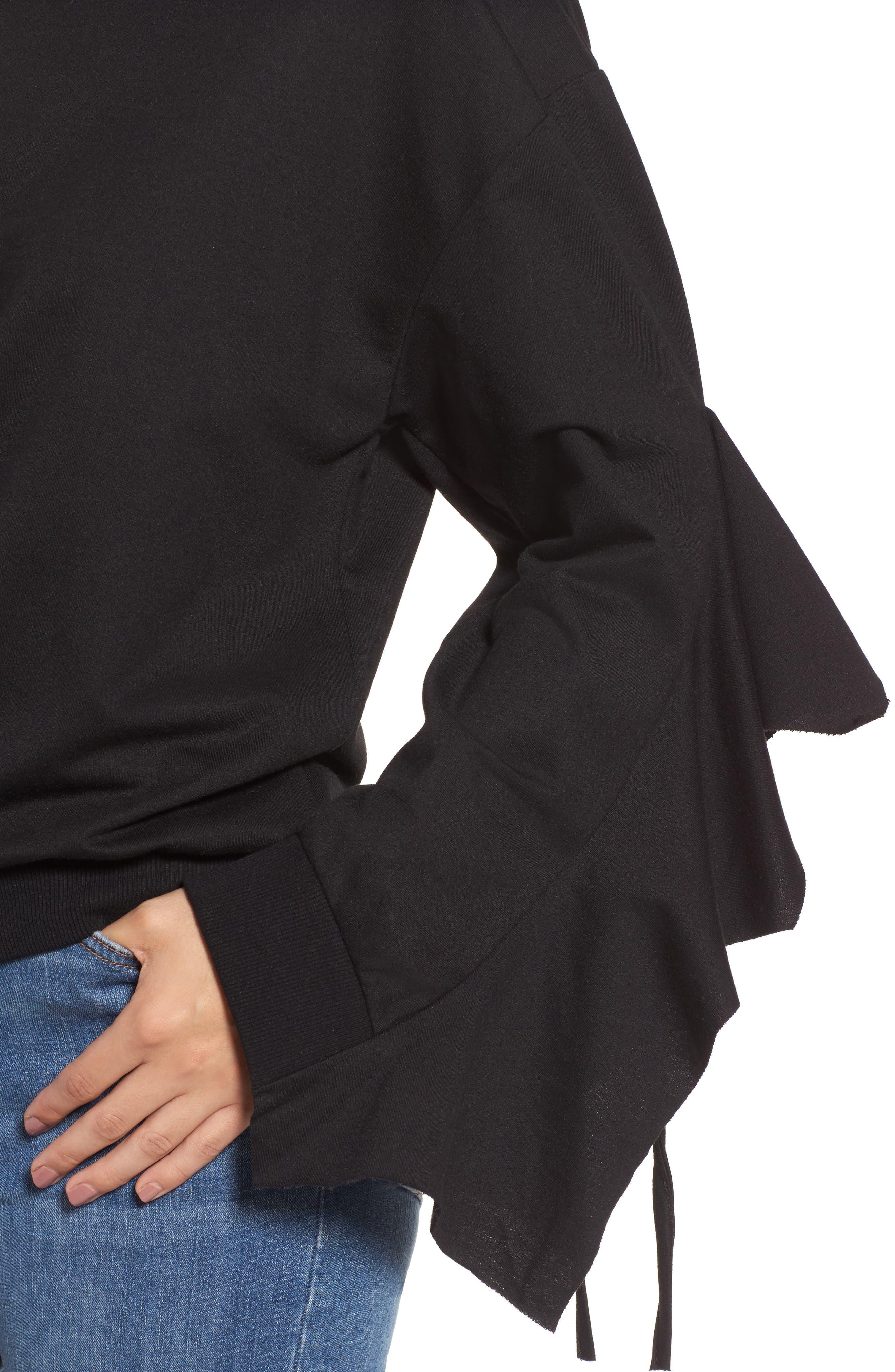 Ruffle Tie Sleeve Sweatshirt,                             Alternate thumbnail 4, color,                             001