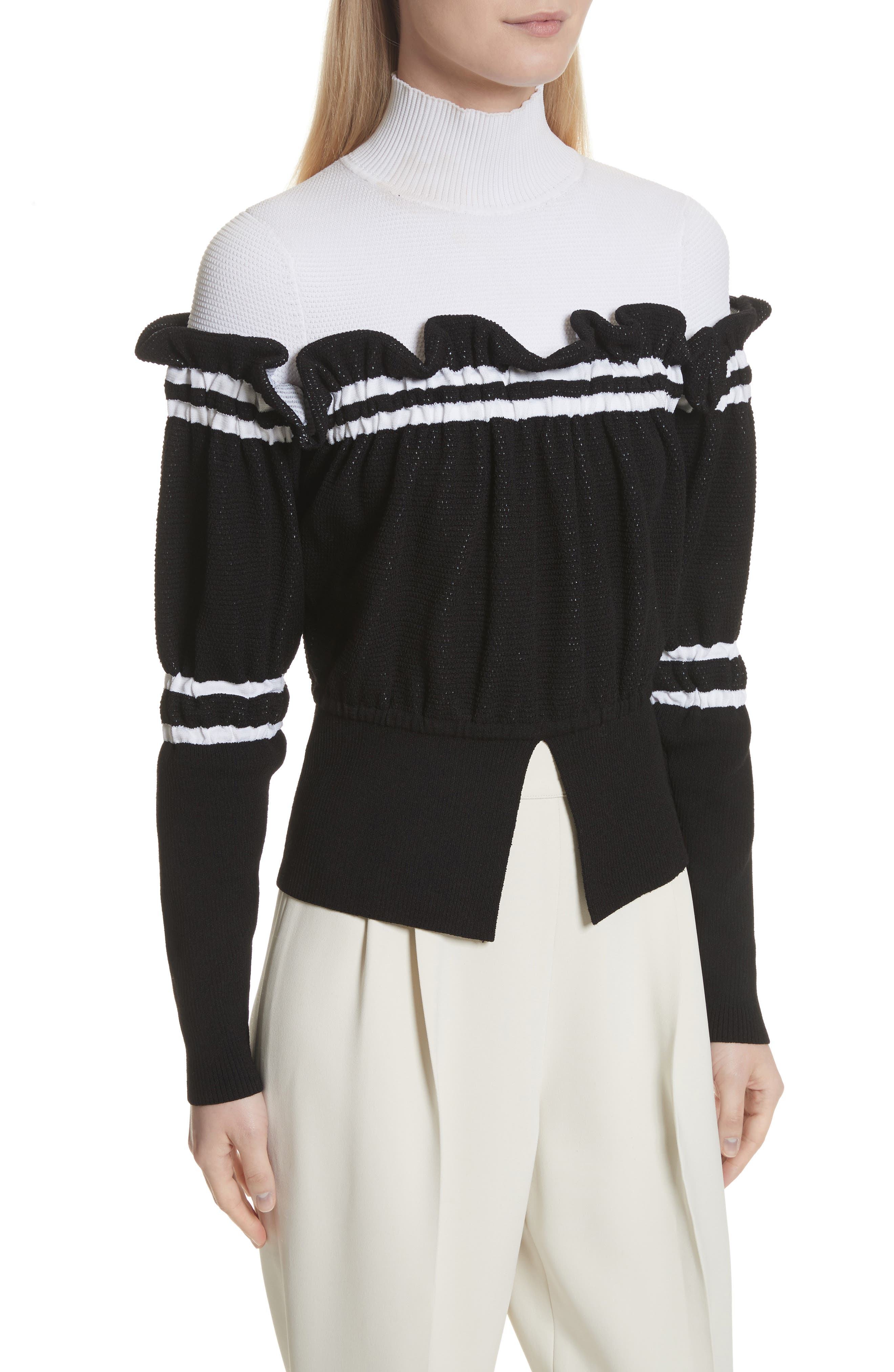 Ruffle Overlay Knit Turtleneck,                             Alternate thumbnail 4, color,
