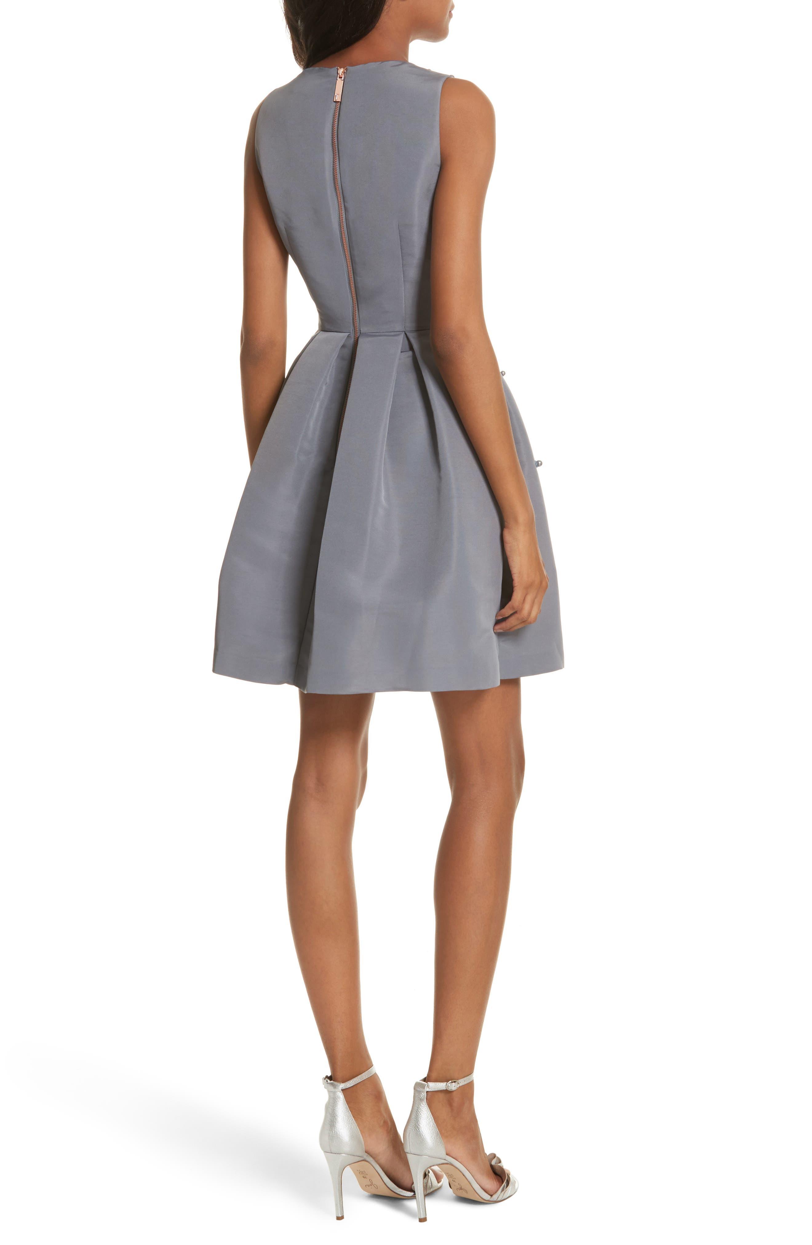 Embellished Skater Dress,                             Alternate thumbnail 4, color,