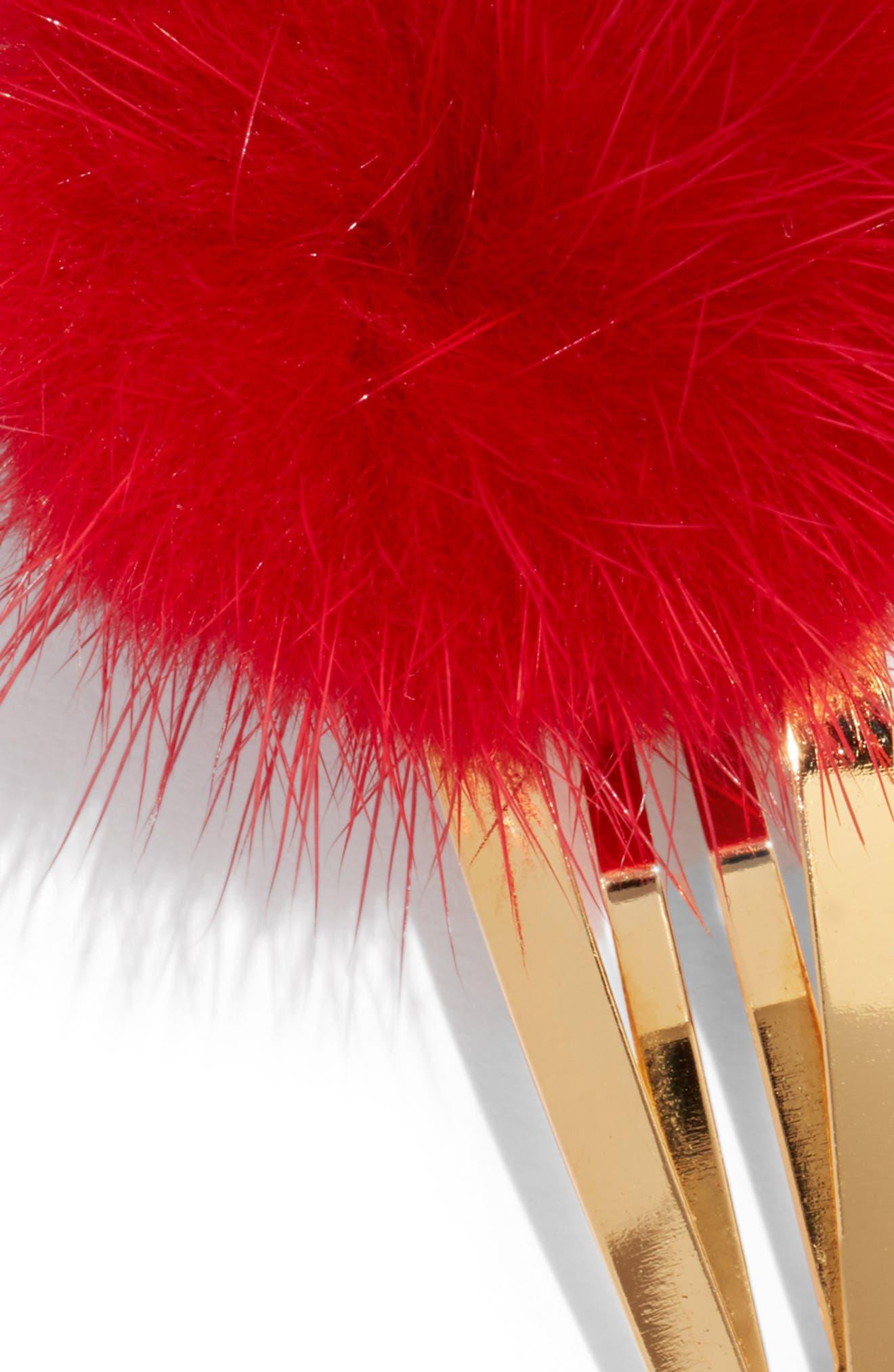 Genuine Mink Fur Pom Snap Clip,                             Alternate thumbnail 2, color,                             RED