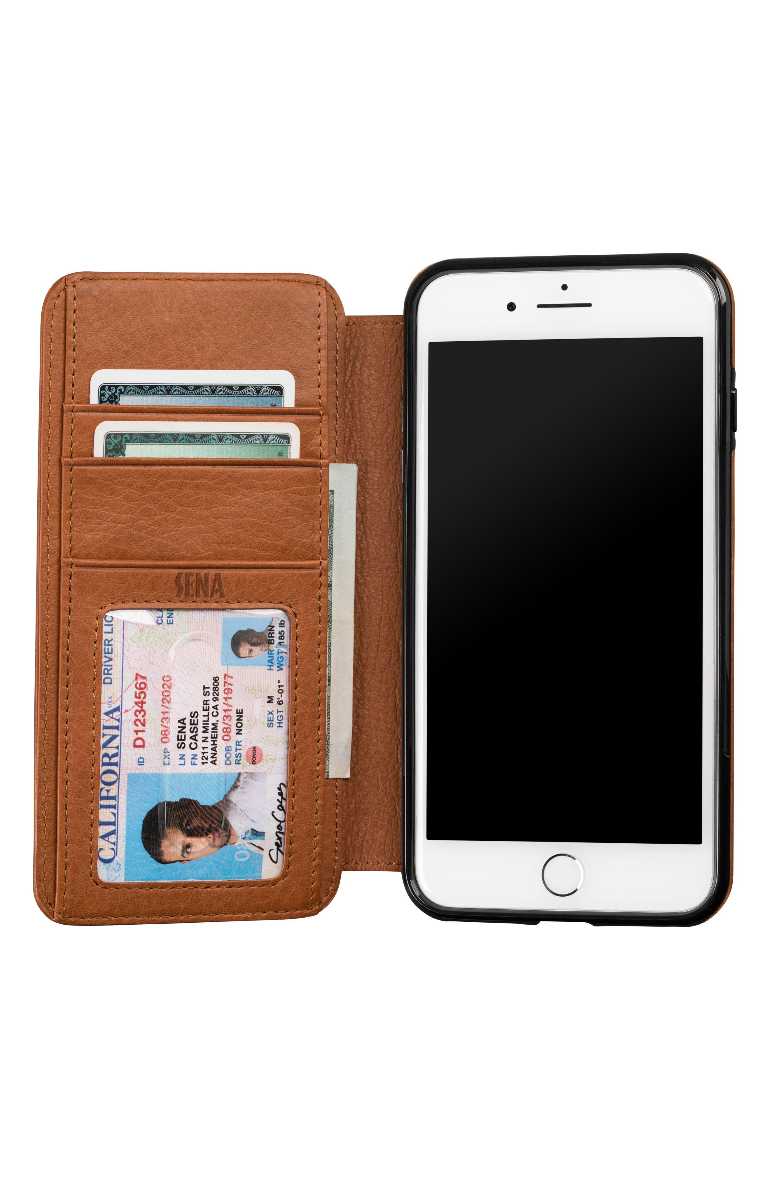 Bence iPhone 7/8 Plus Walletbook,                             Alternate thumbnail 2, color,                             SADDLE