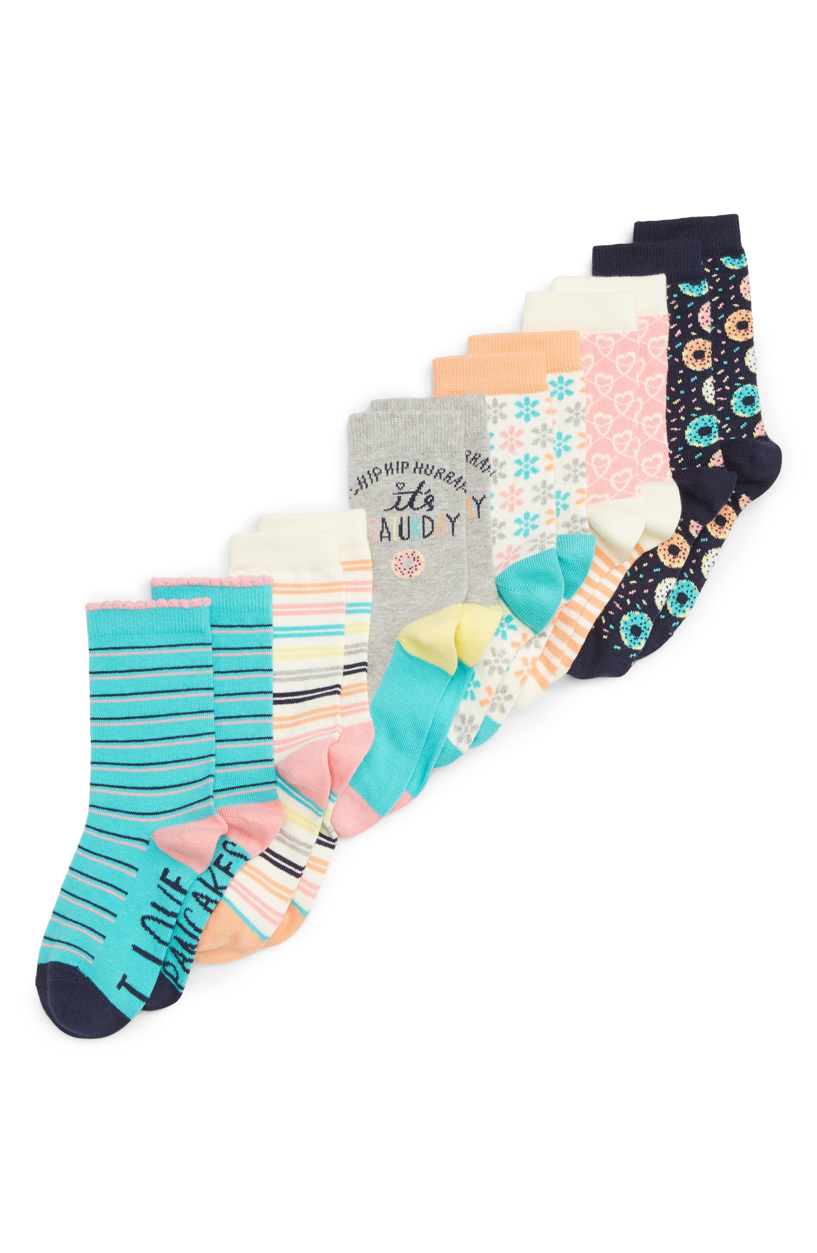 Saturday 6-Pack Crew Socks,                         Main,                         color, GREY MEDIUM HEATHER MULTI