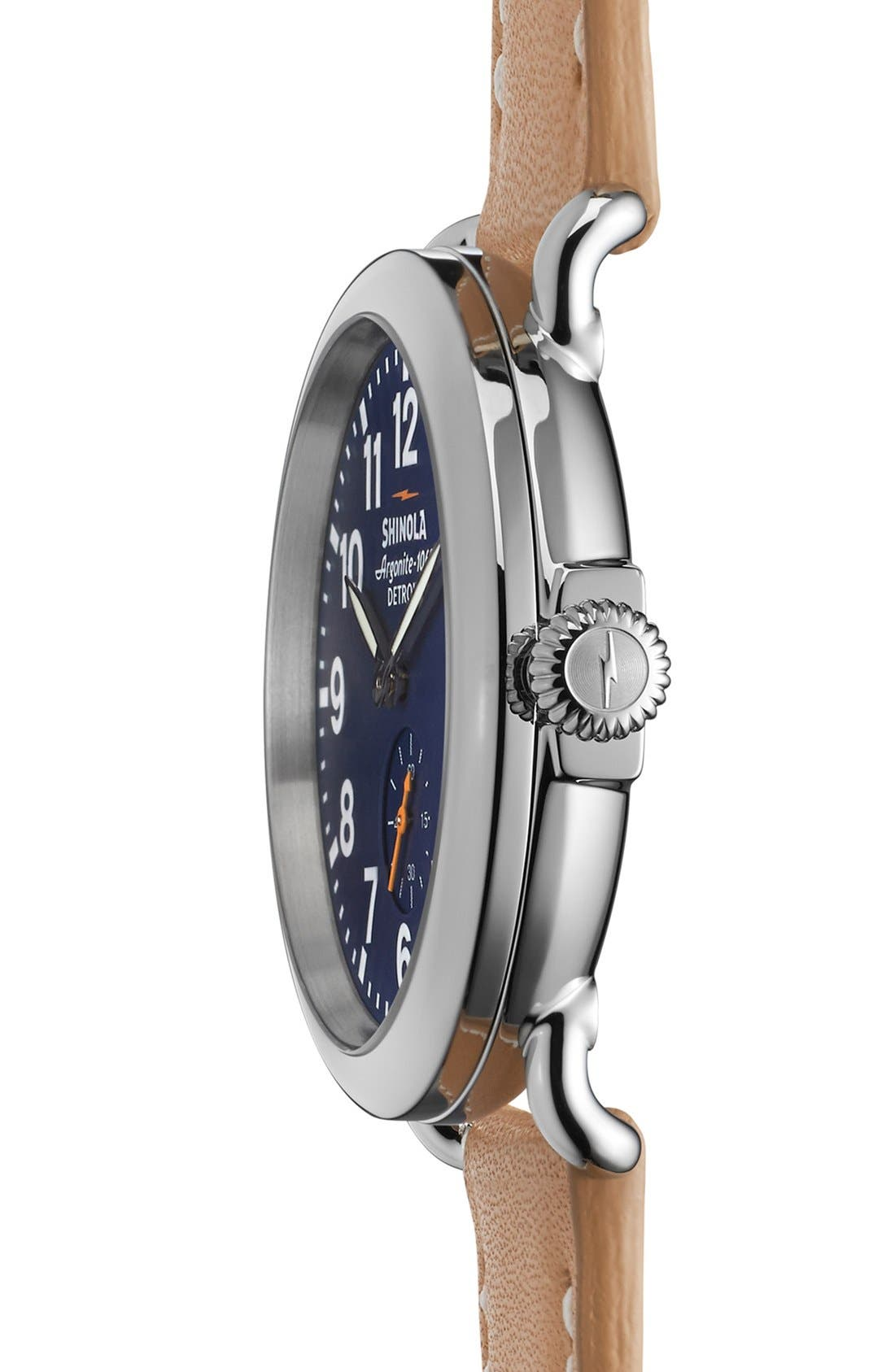 'The Runwell' Leather Strap Watch, 41mm,                             Alternate thumbnail 3, color,                             MIDNIGHT BLUE/ NATURAL