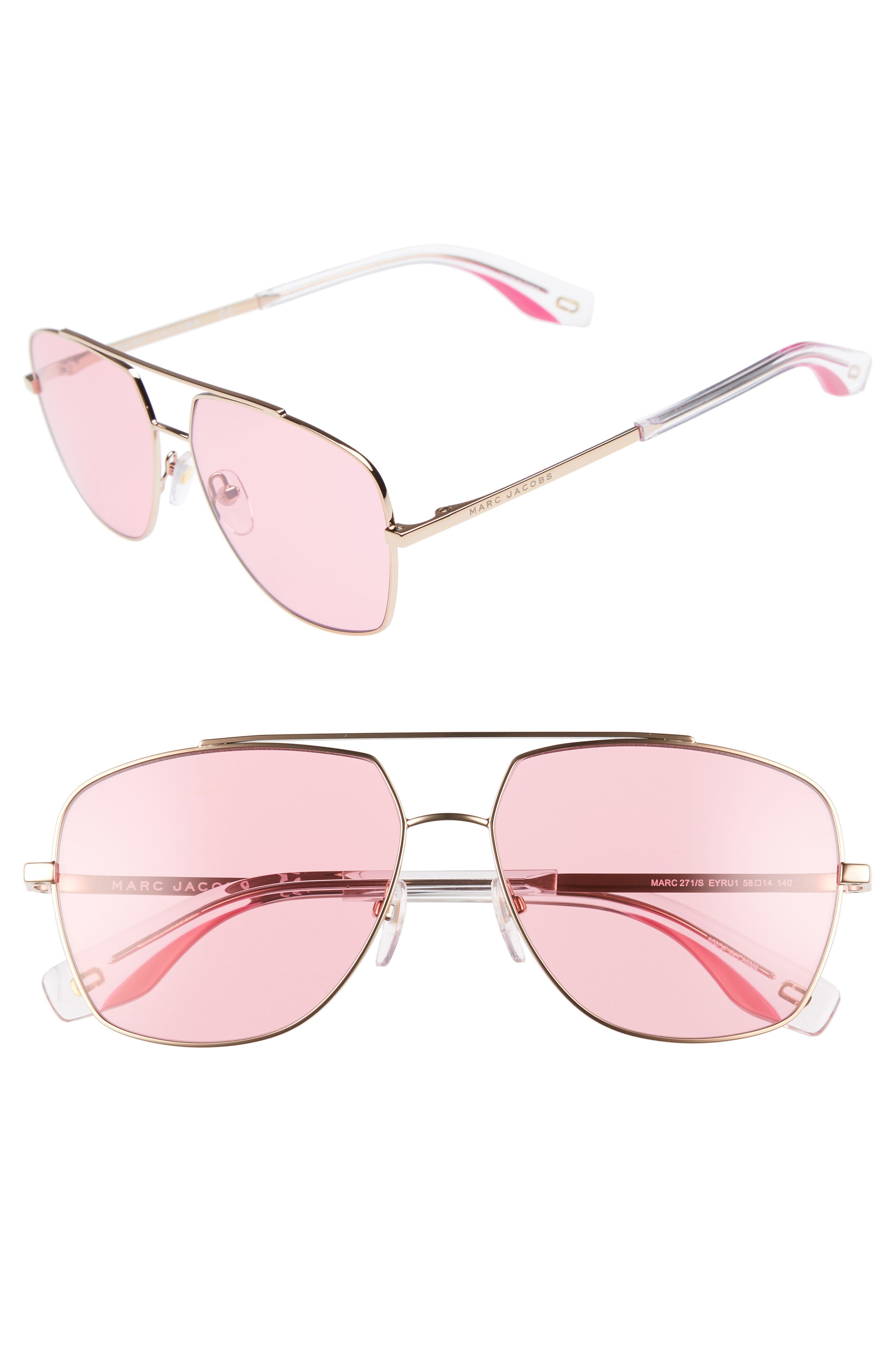 Women'S Brow Bar Aviator Sunglasses, 58Mm in Gold/ Pink