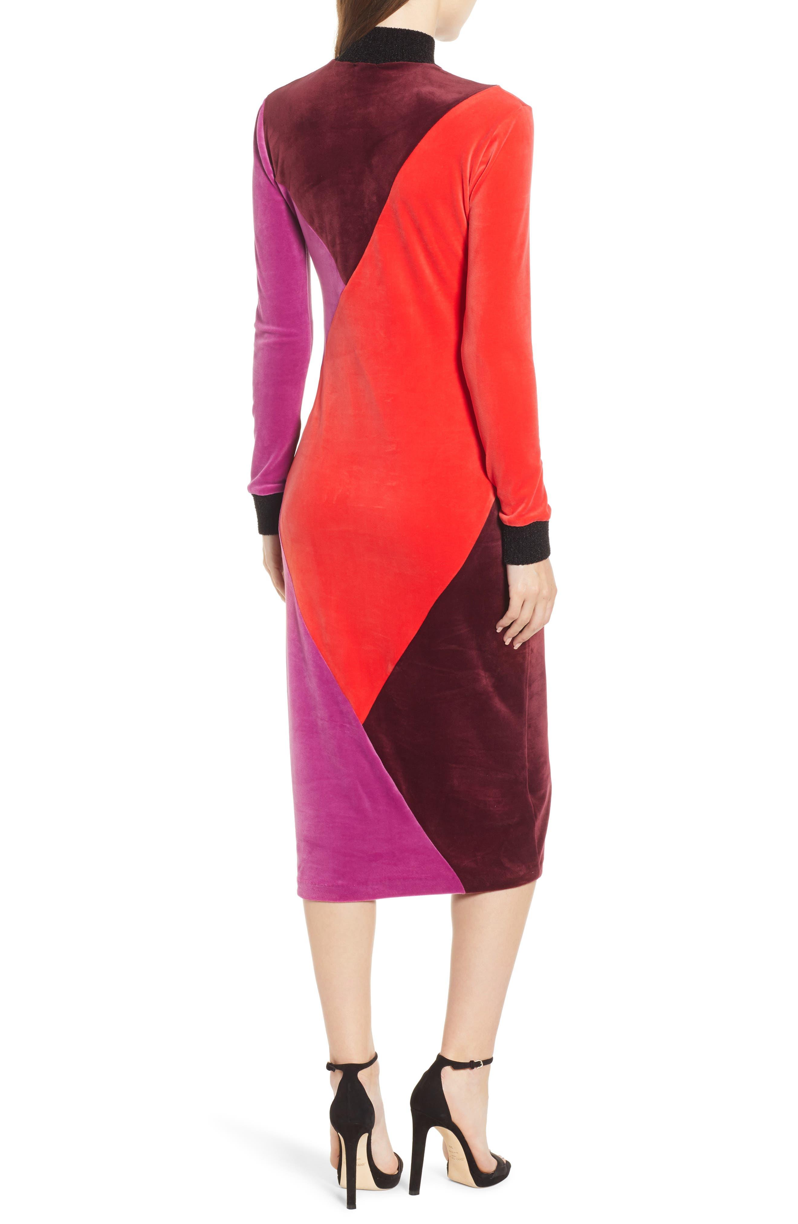 Velluto Velour Midi Dress,                             Alternate thumbnail 2, color,                             BORGOGNA
