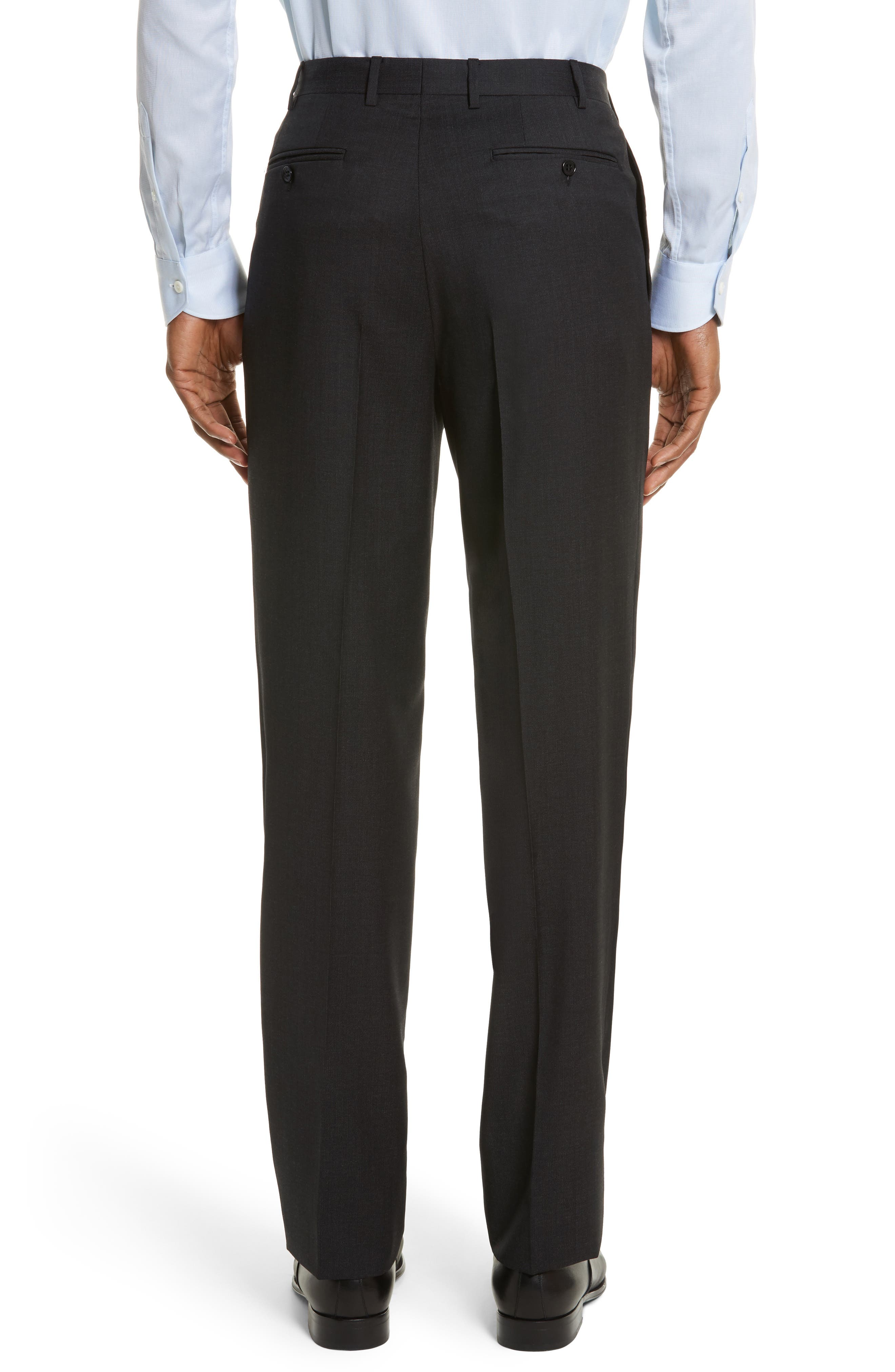 Flat Front Stripe Wool Trousers,                             Alternate thumbnail 3, color,                             020