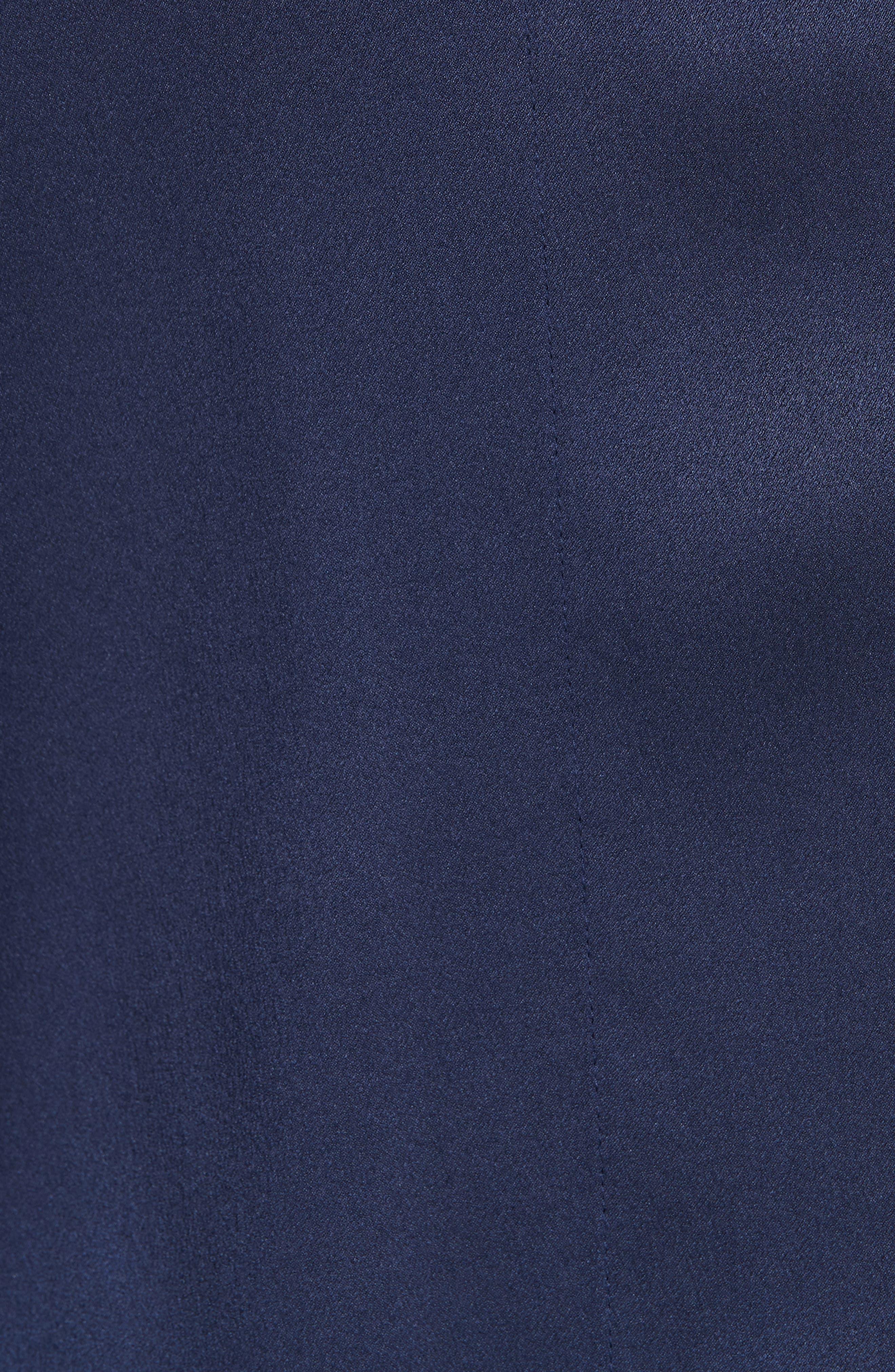 Tie Back Silk Blouse,                             Alternate thumbnail 5, color,                             MARINE