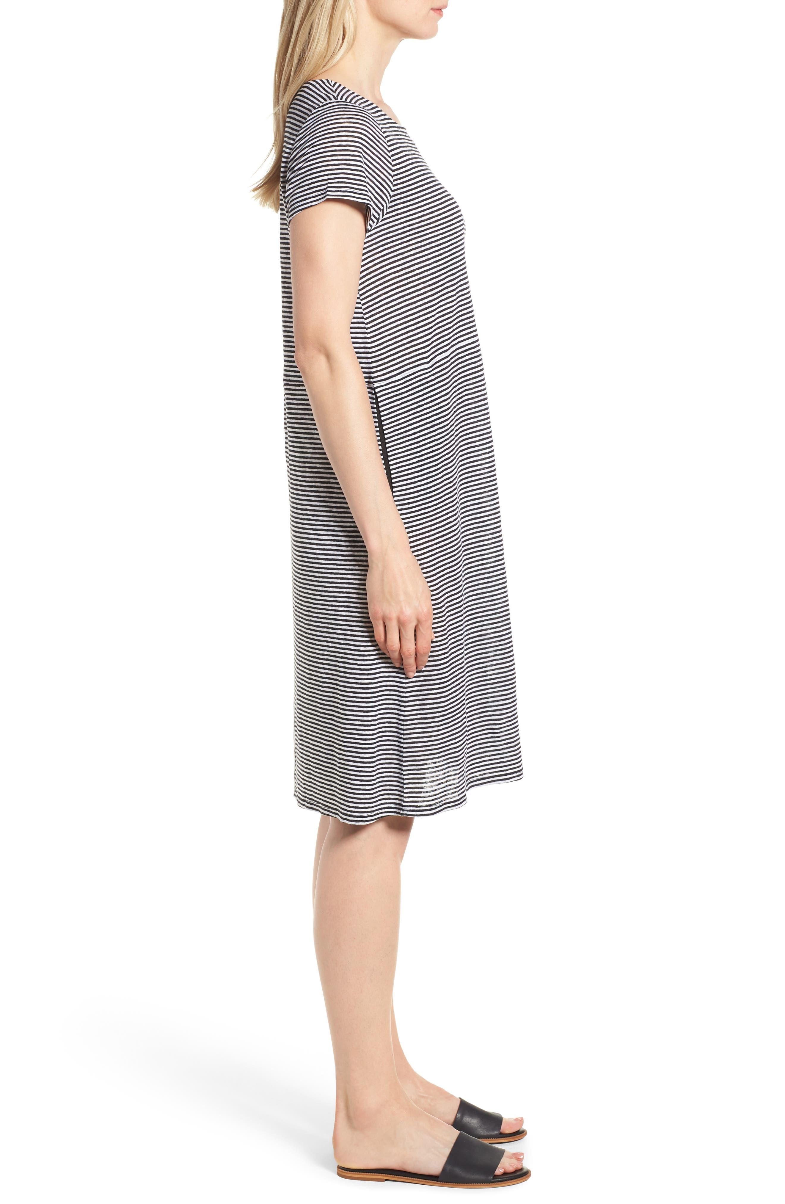 Stripe Organic Linen Jersey Shift Dress,                             Alternate thumbnail 3, color,                             BLACK/ WHITE