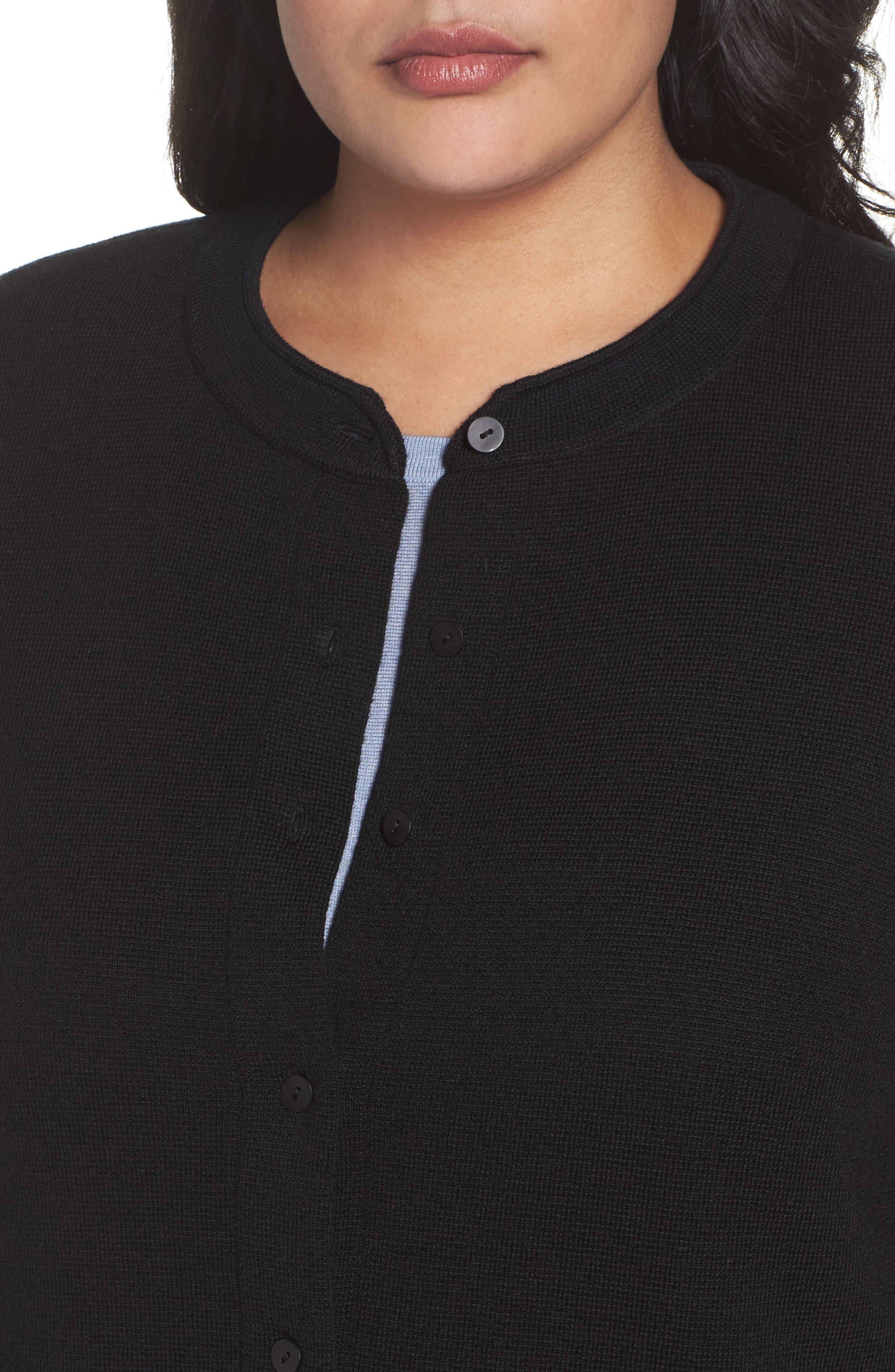 Mandarin Collar Merino Cardigan,                             Alternate thumbnail 4, color,                             001