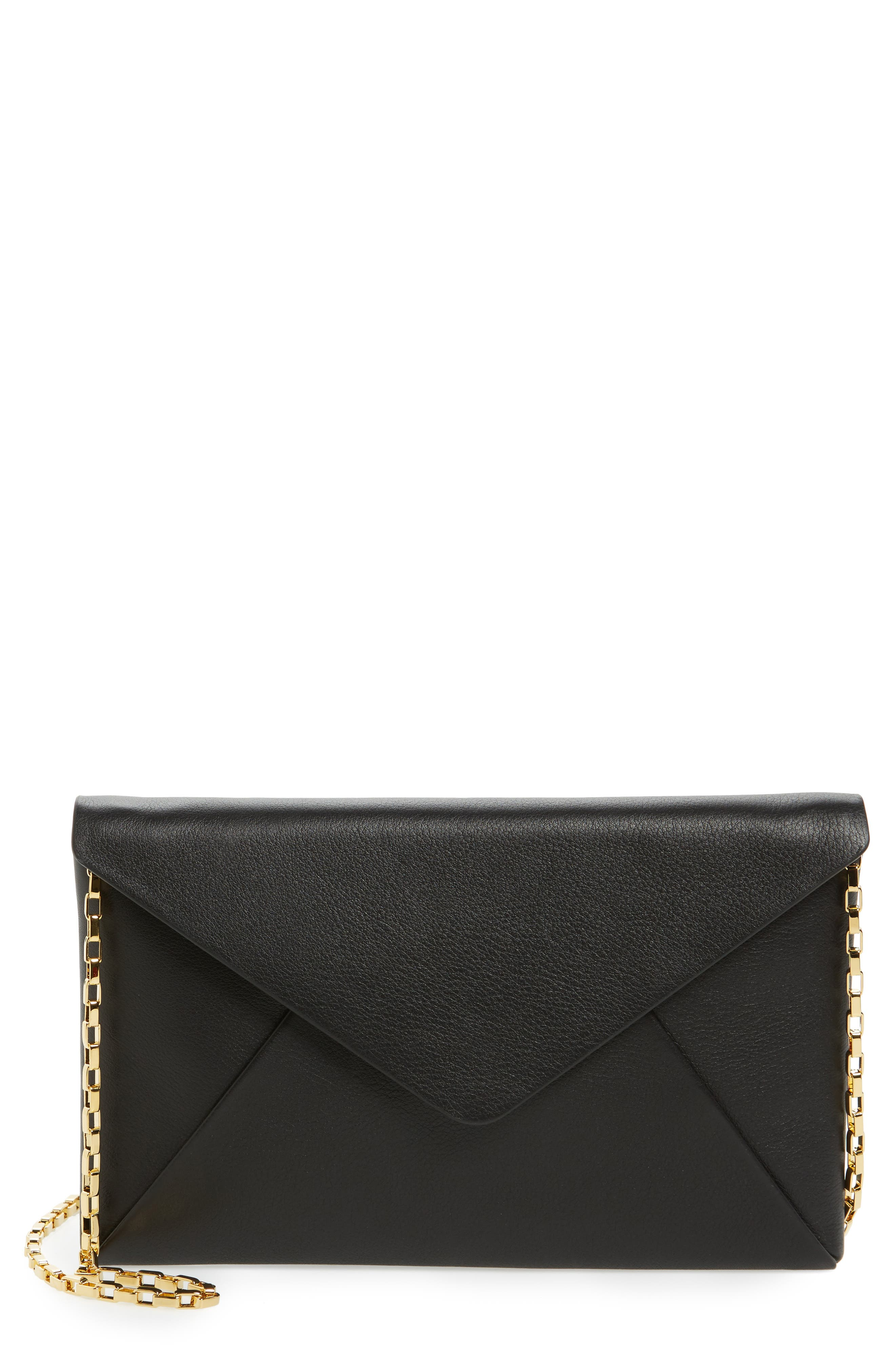 Small Calfskin Leather Envelope Clutch,                             Main thumbnail 1, color,                             001
