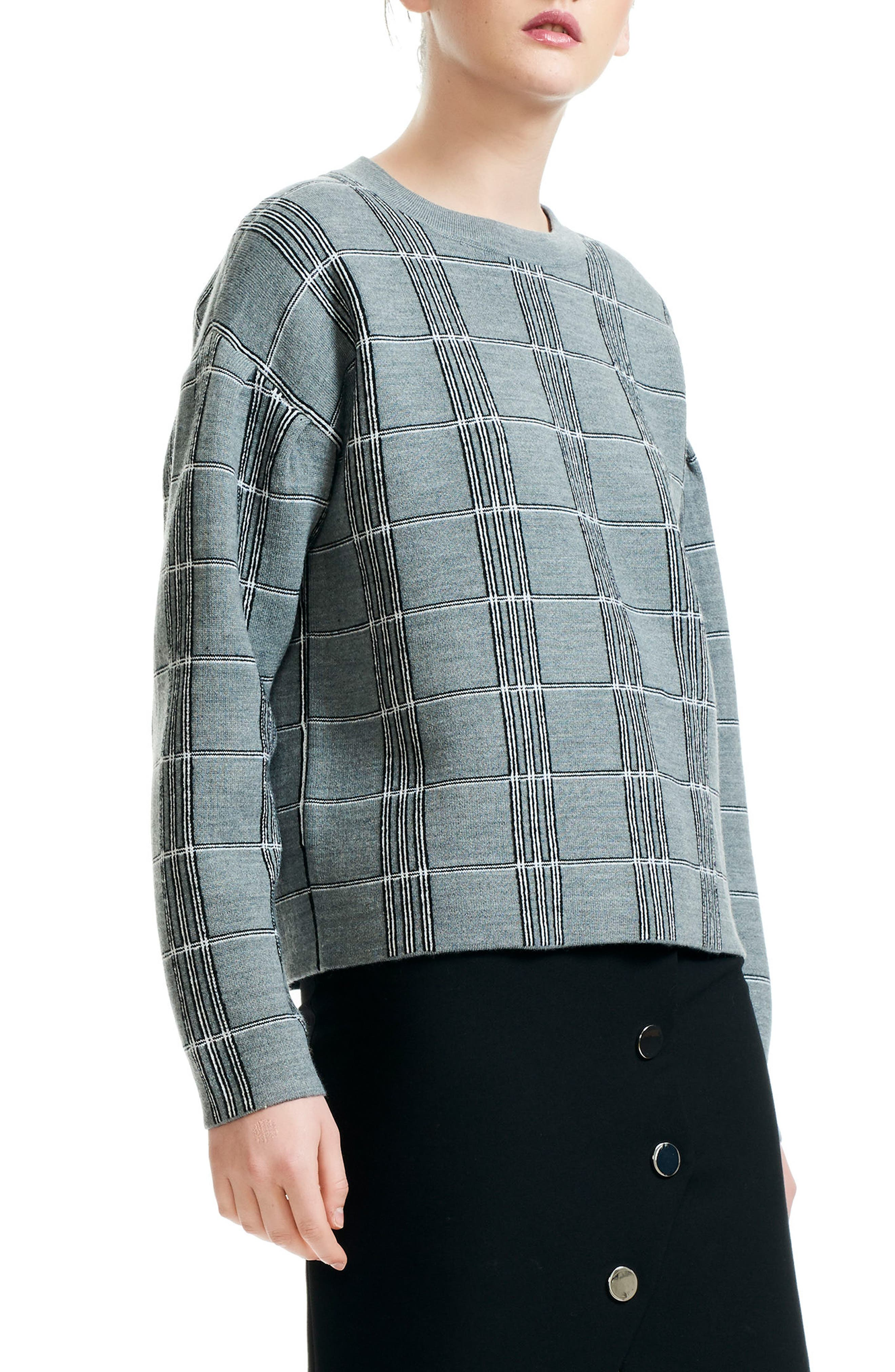 Mission Grid Pattern Wool Blend Sweater,                         Main,                         color, 061