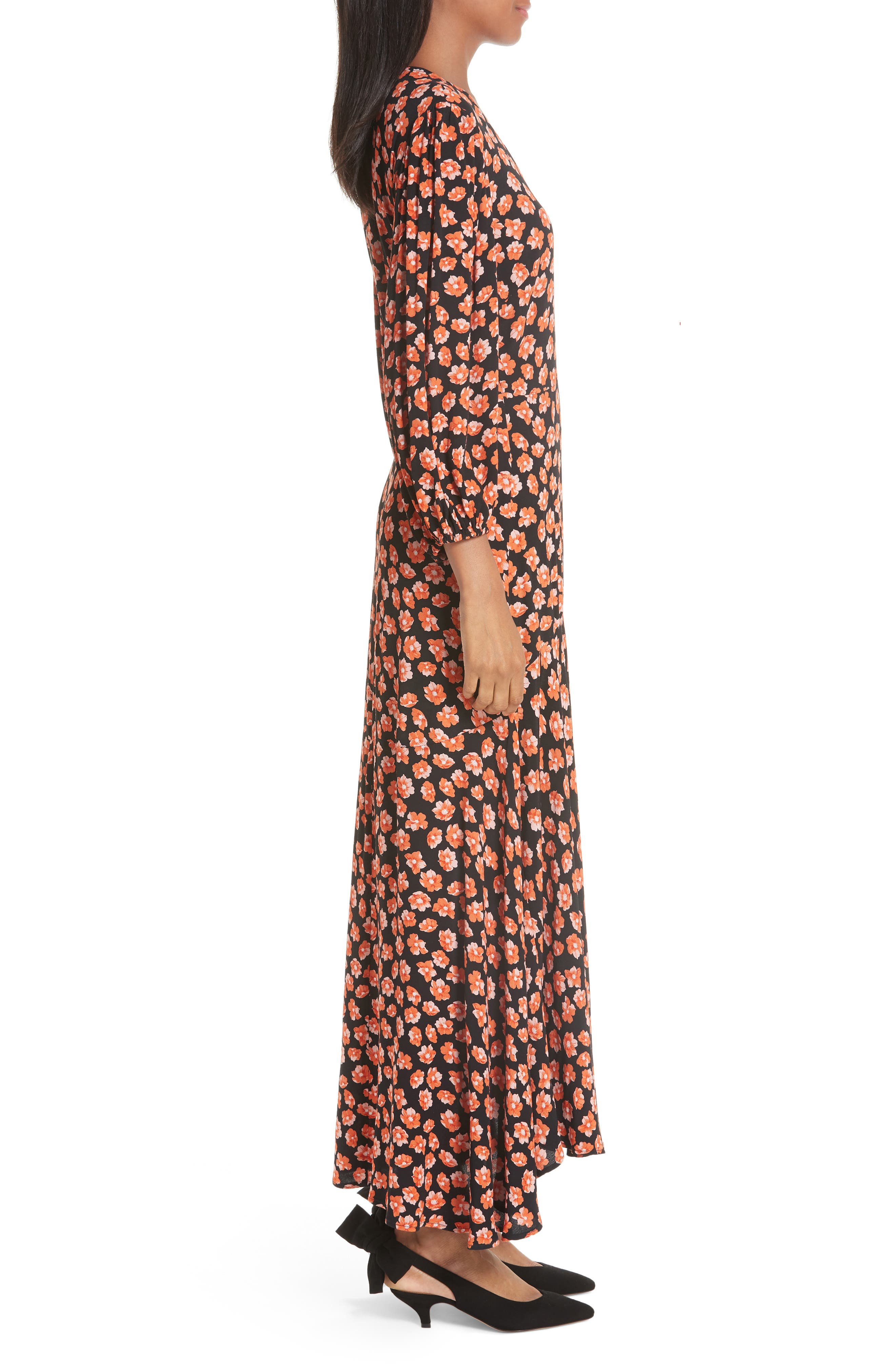 Print Crepe Dress,                             Alternate thumbnail 3, color,                             FIERY RED 403
