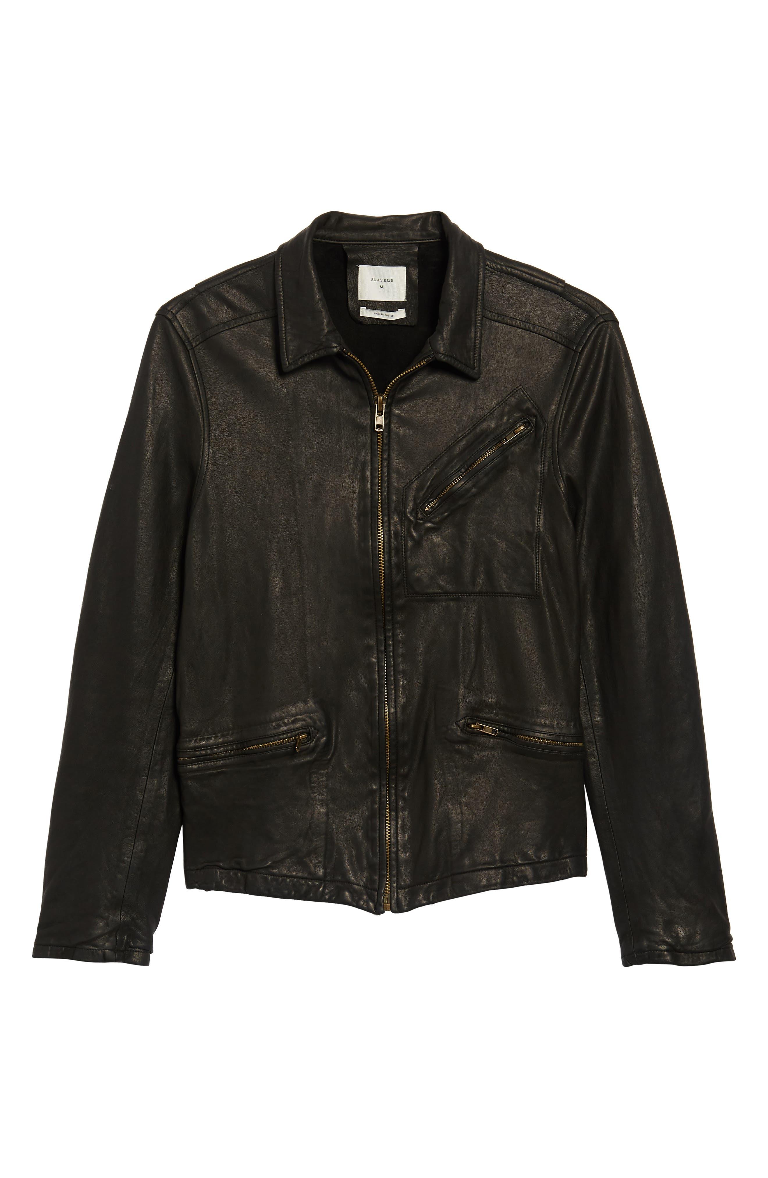 Blake Leather Jacket,                             Alternate thumbnail 5, color,                             BLACK