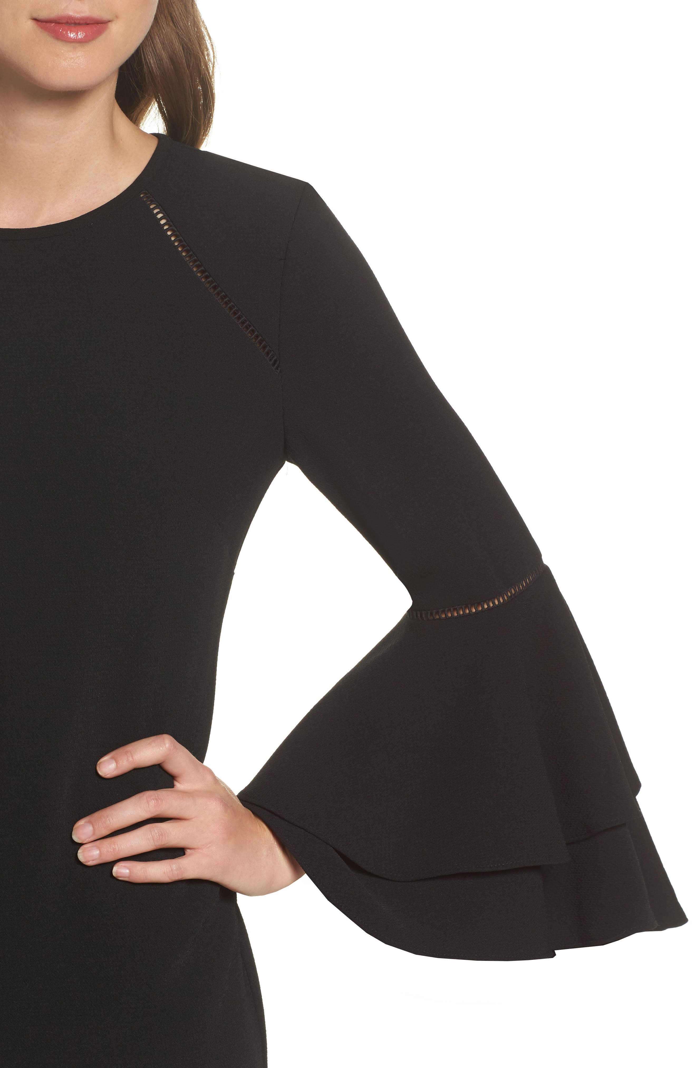 Tiered Bell Sleeve Shift Dress,                             Alternate thumbnail 4, color,                             001