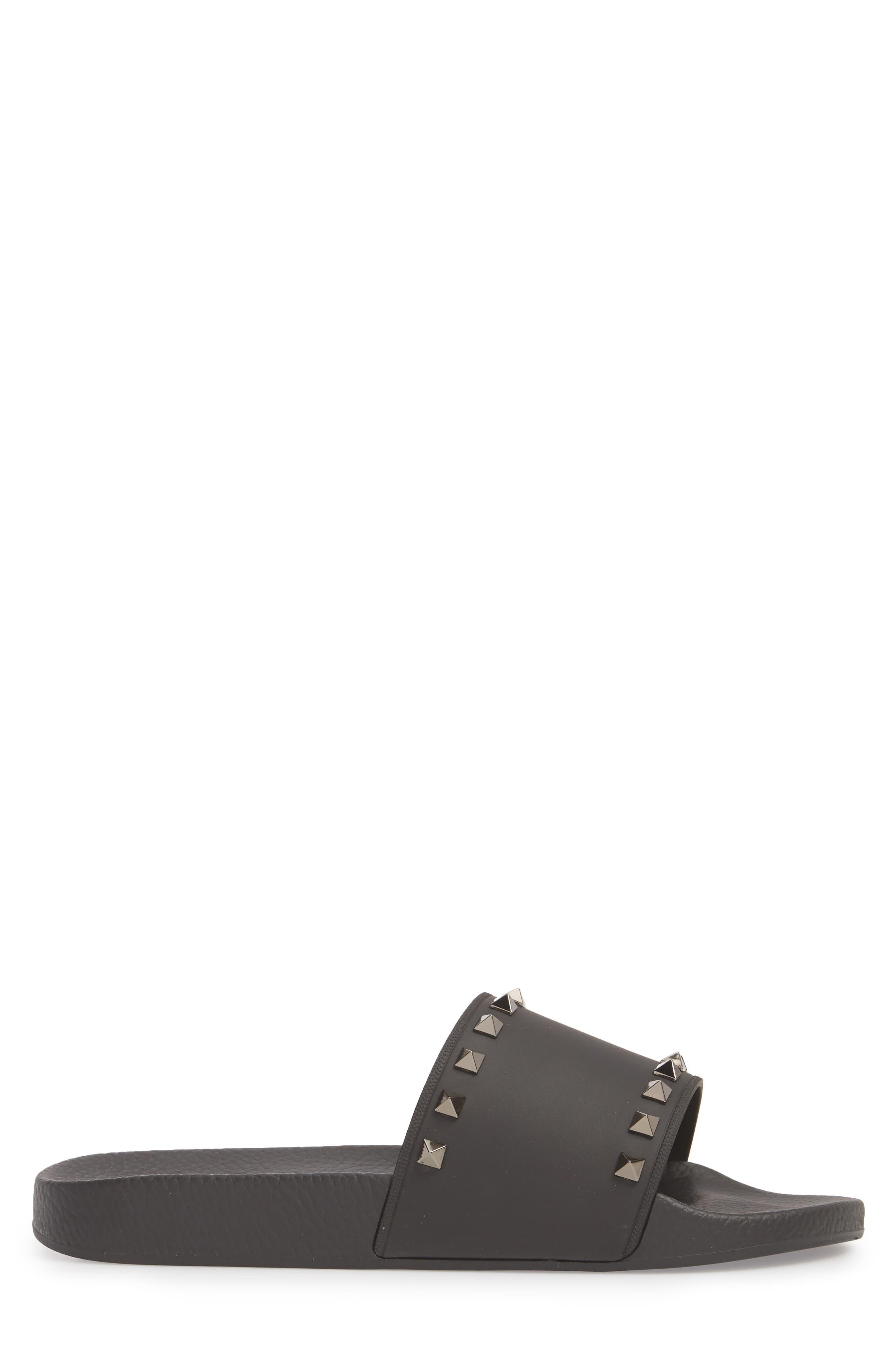 Rockstud Slide Sandal,                             Alternate thumbnail 3, color,                             BLACK