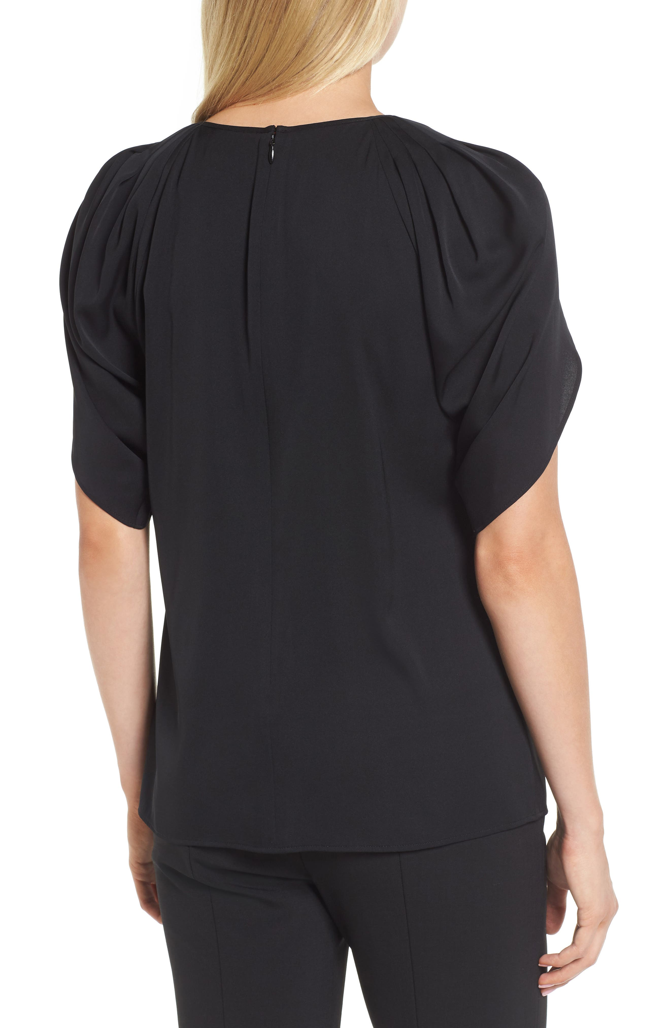 Draped Sleeve Stretch Silk Top,                             Alternate thumbnail 2, color,                             001