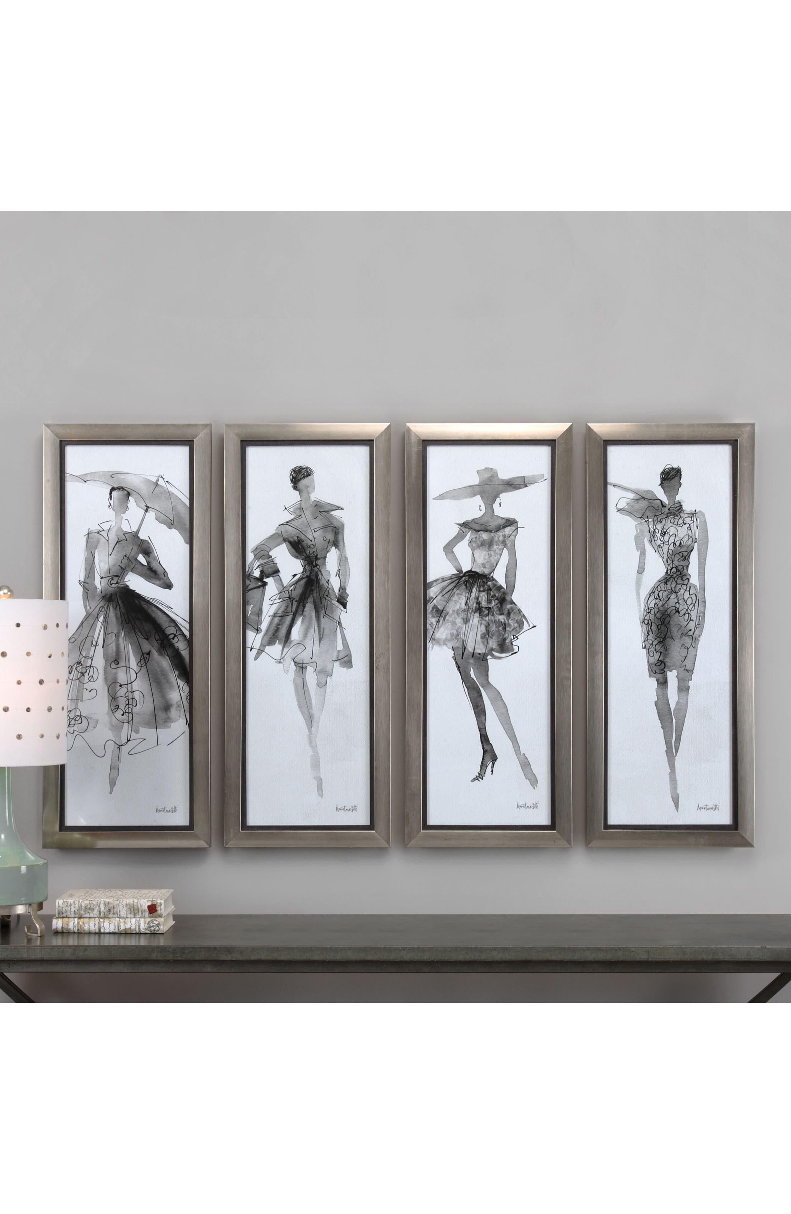 Fashion Sketchbook 4-Piece Wall Art Set,                             Alternate thumbnail 2, color,
