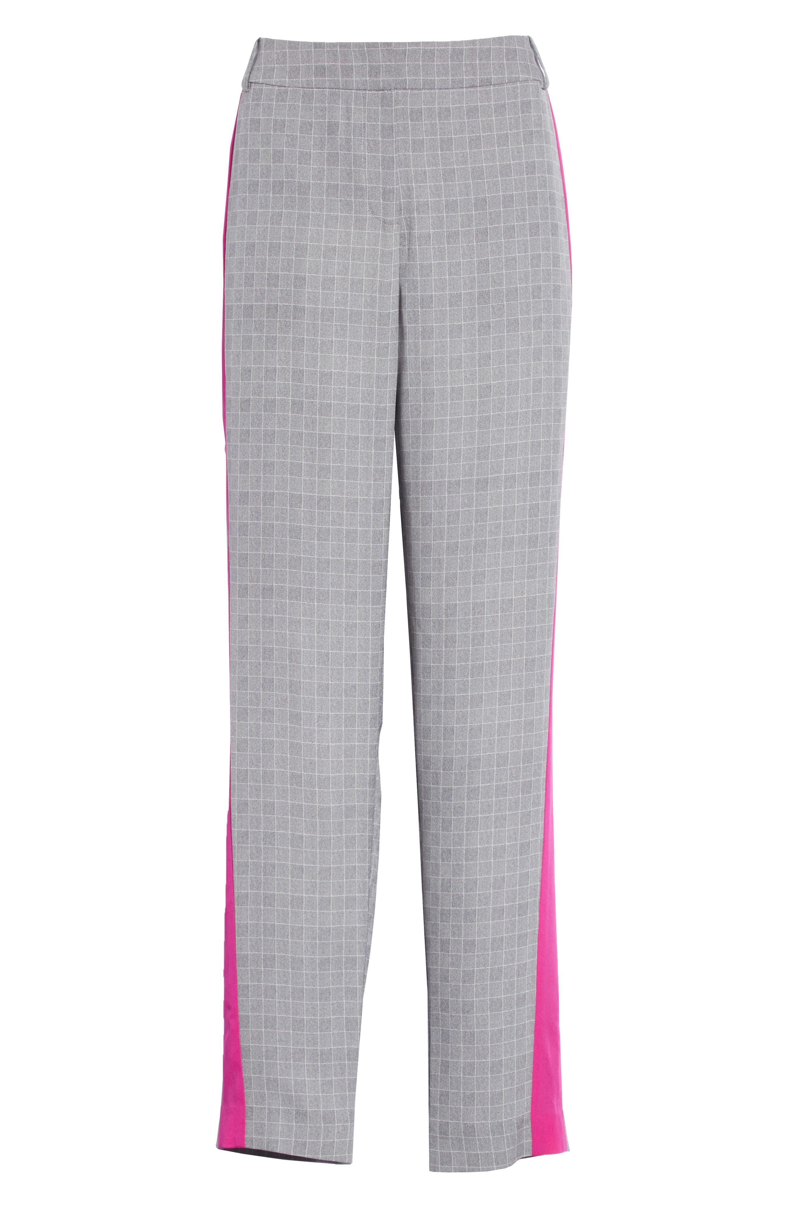 Side Stripe Check Silk Pants,                             Alternate thumbnail 6, color,                             CHROME/ CERISE