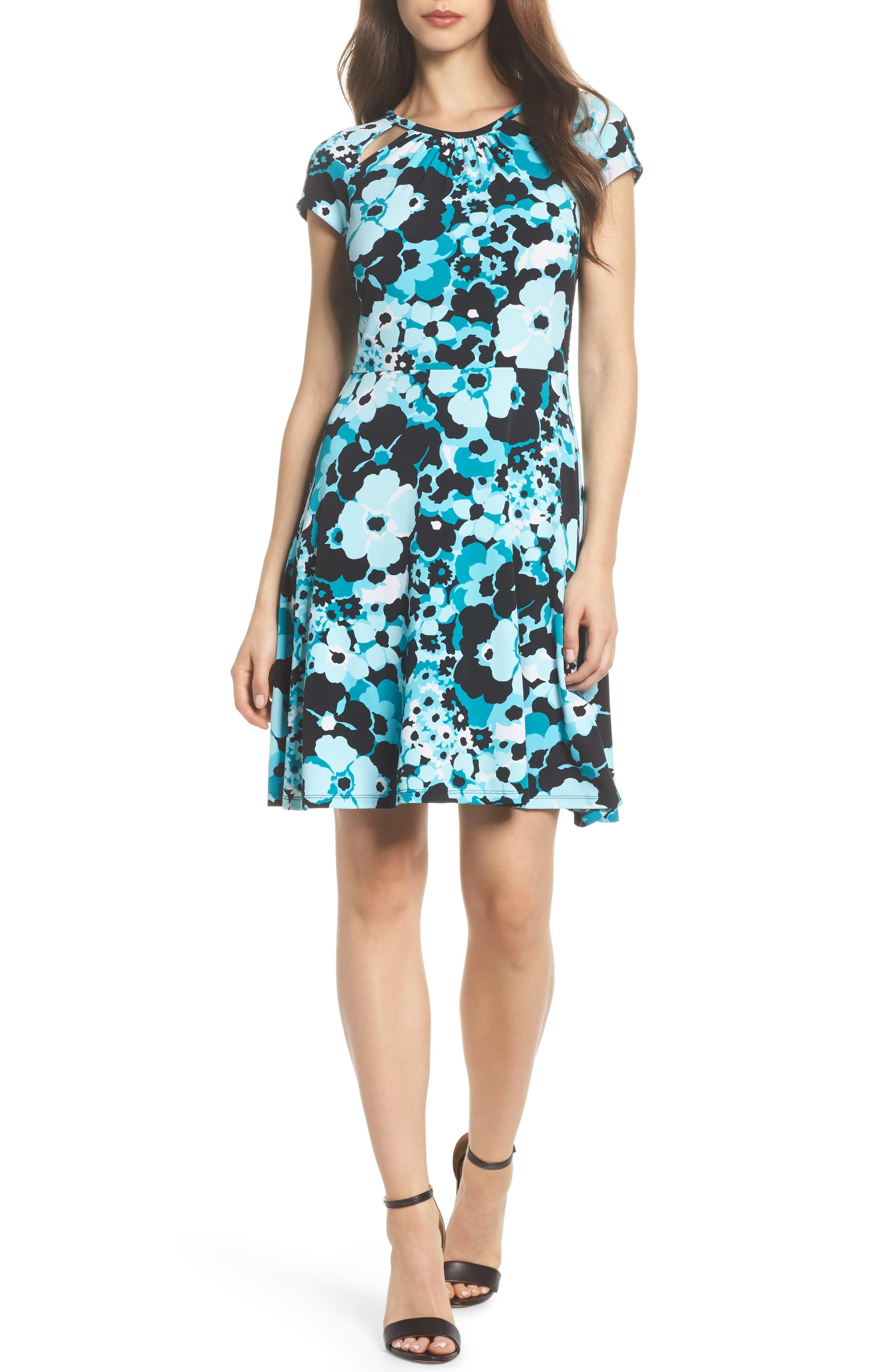 Springtime Floral Cutout Dress,                             Main thumbnail 1, color,                             494