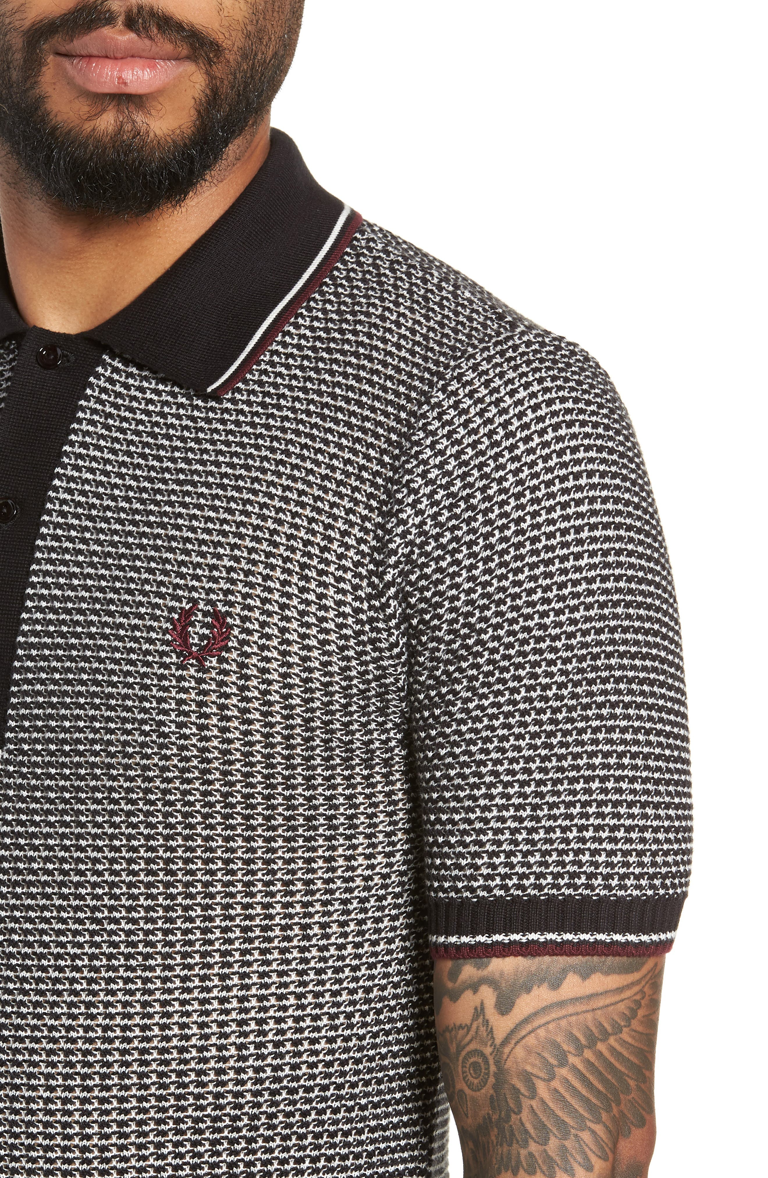 Tipped Houndstooth Polo,                             Alternate thumbnail 4, color,                             001