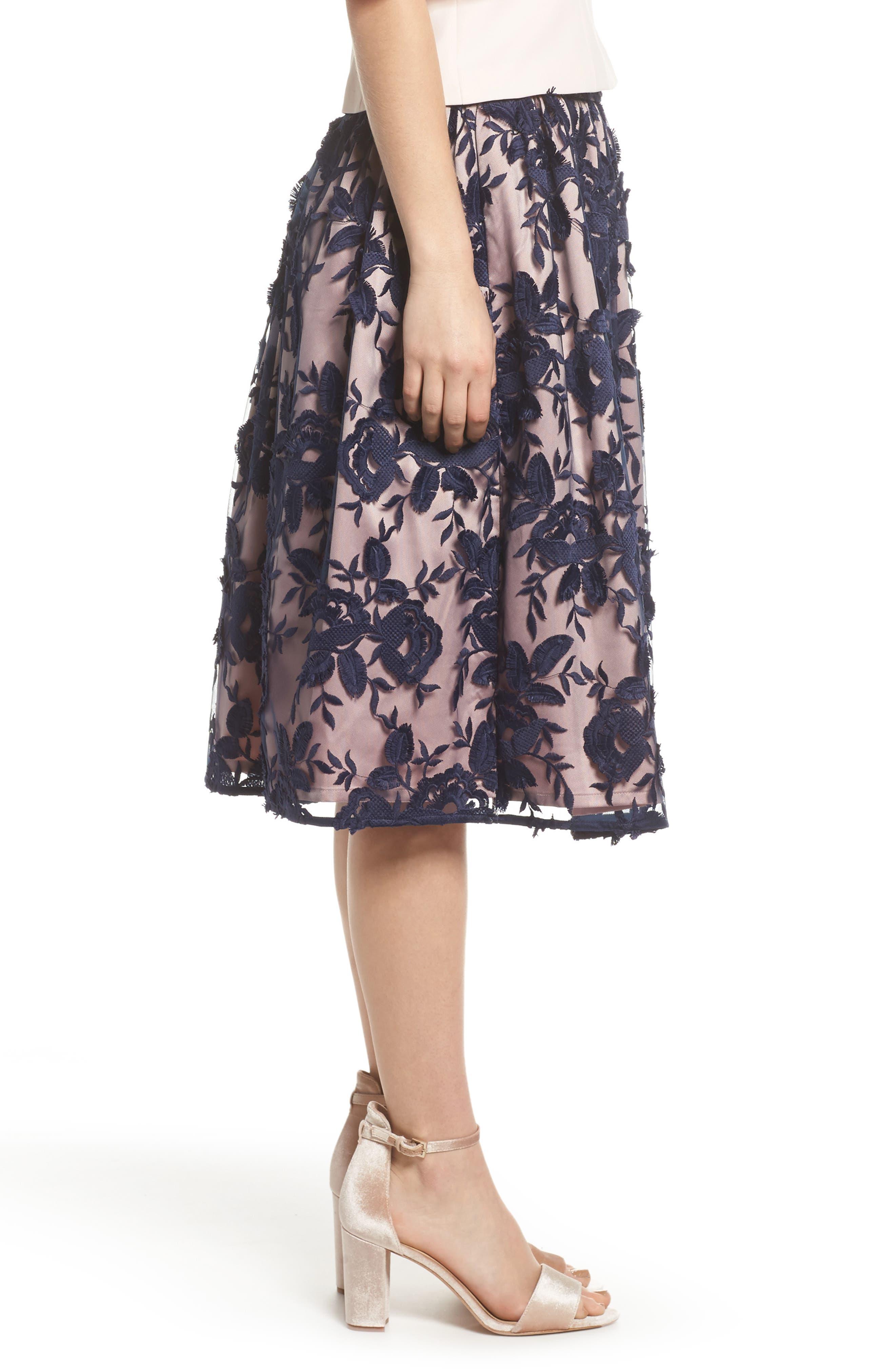 Embroidered Midi Skirt,                             Alternate thumbnail 3, color,                             401