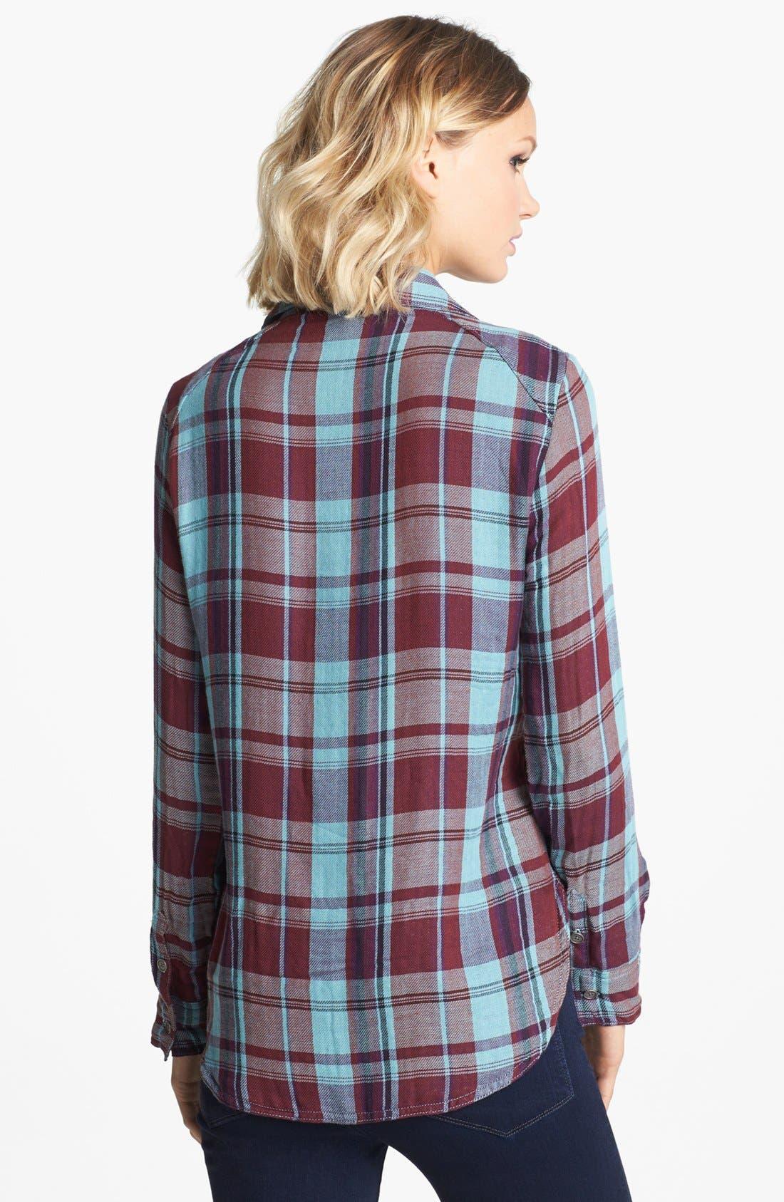 Denim 'Kadie' Plaid Shirt,                             Alternate thumbnail 3, color,                             600