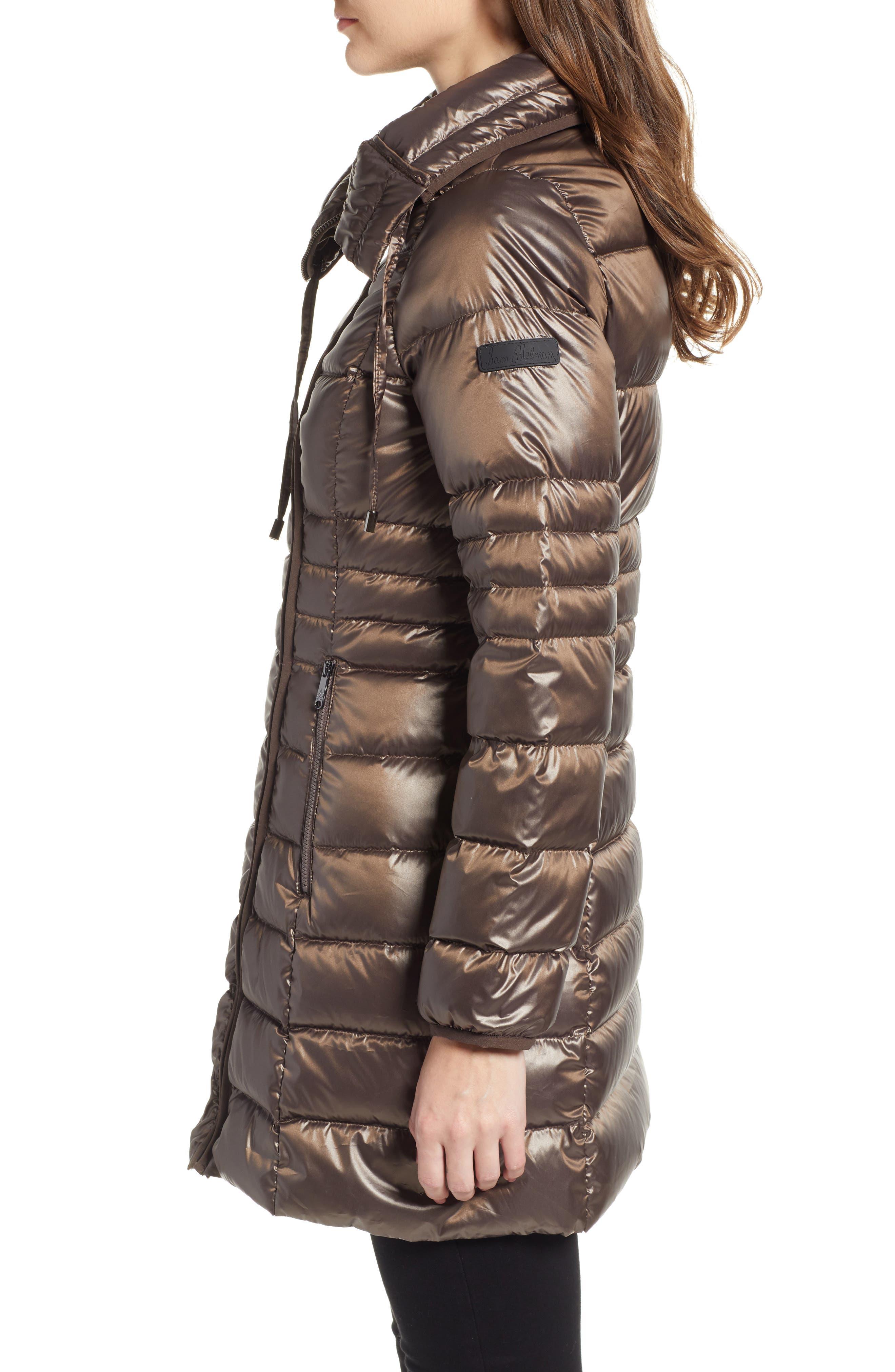 Asymmetrical Puffer Jacket,                             Alternate thumbnail 3, color,                             MINK